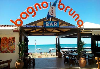 Bagno Bruna private beach area and restaurant at Castiglione della Pescaia