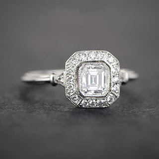 diamond square engagement ring