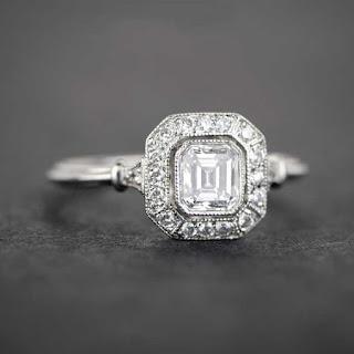 diamond square engagement ring