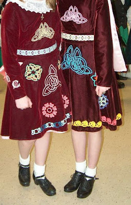 two Irish step dancing dresses hand embroidered
