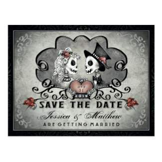 Save the Date Halloween Skeleton Love Gray & Black Postcard Template