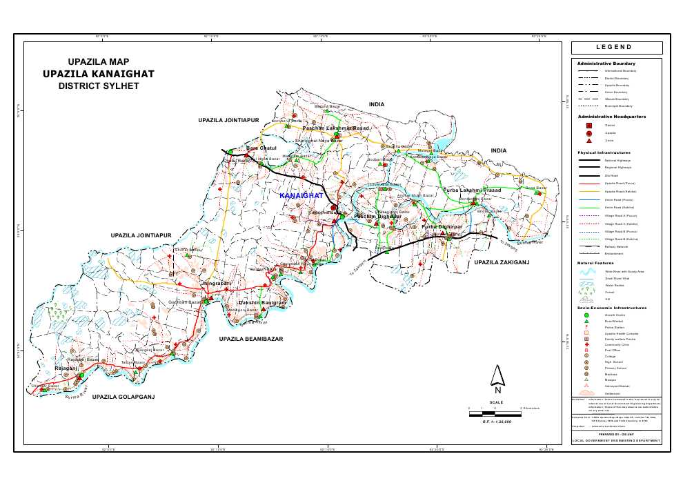 Kanaighat Upazila Map Sylhet District Bangladesh