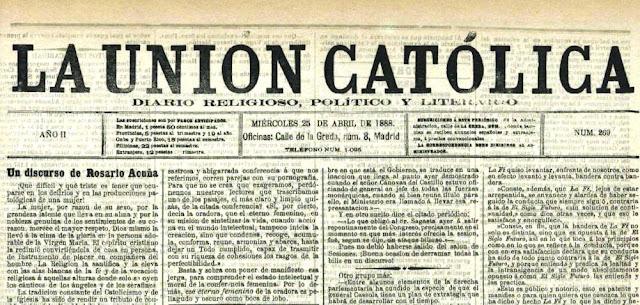 Fragmento del artículo «Un discurso de Rosario de Acuña», publicado en La Unión Católica