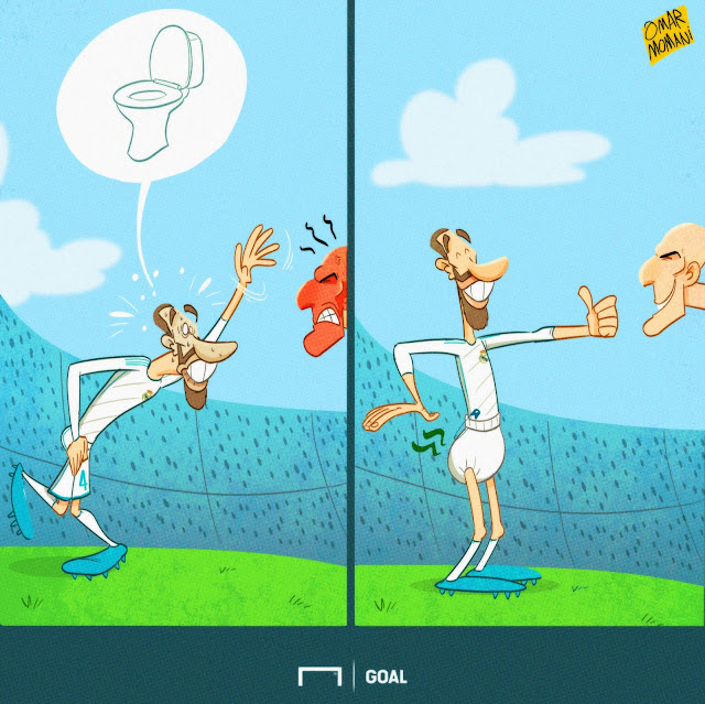 Sergio Ramos wants to go to toilet