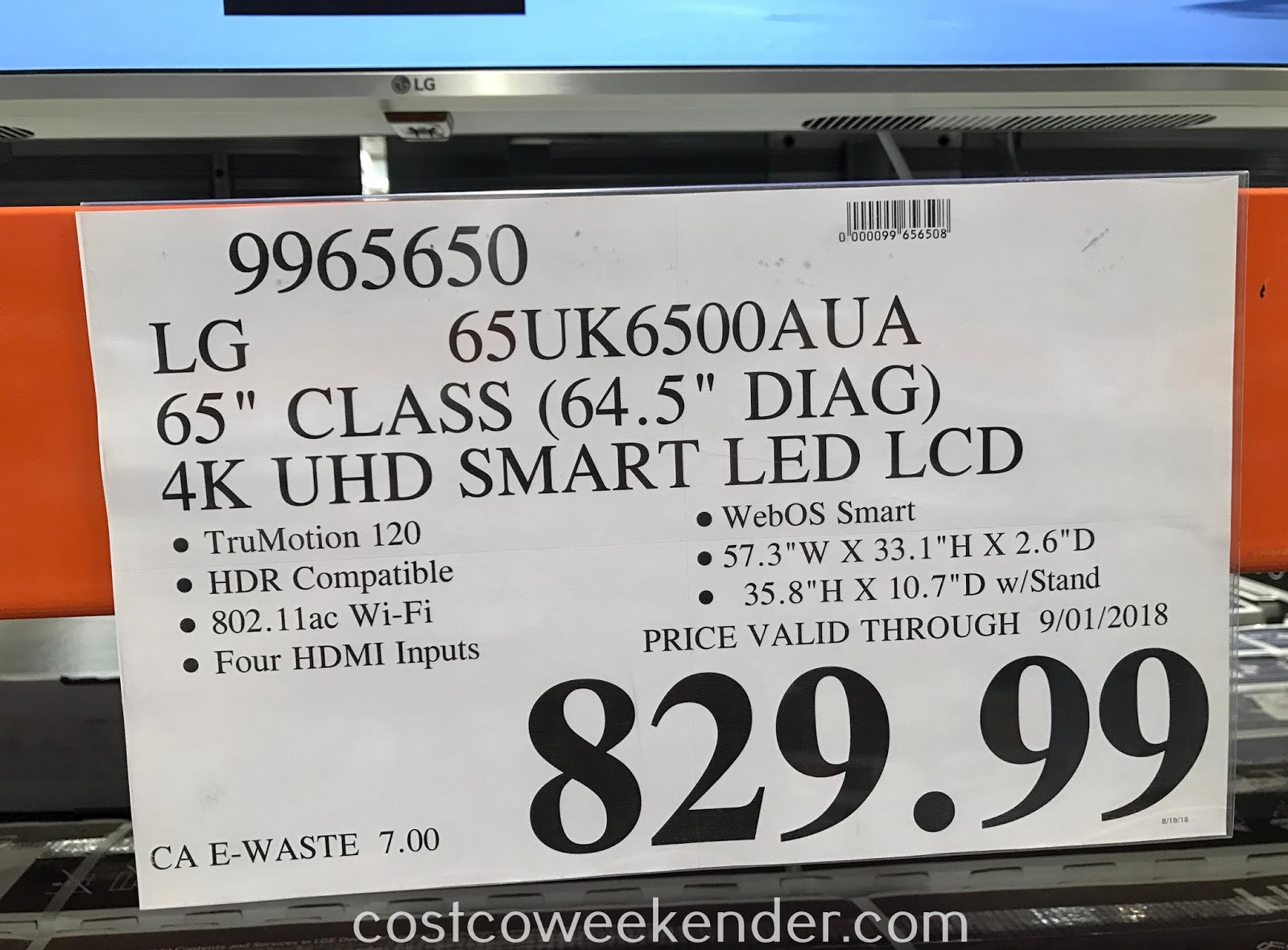 Deal for the LG 65UK6500AUA 65in 4K UHD TV at Costco