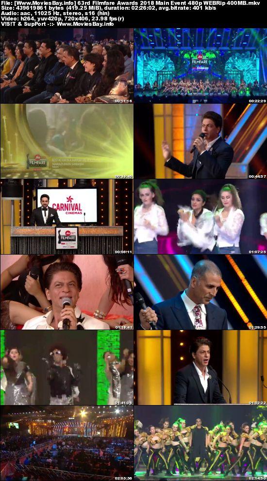63rd Filmfare Awards 2018 Main Event 480p WEBRip 400MB