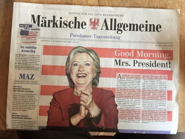 Немецкая газета поздравила Клинтон и избранием президентом США