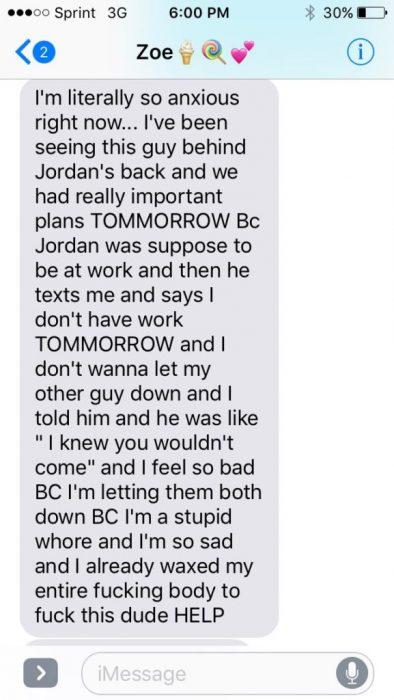 Novia alerta por error a su novio de que lo iba a engañar