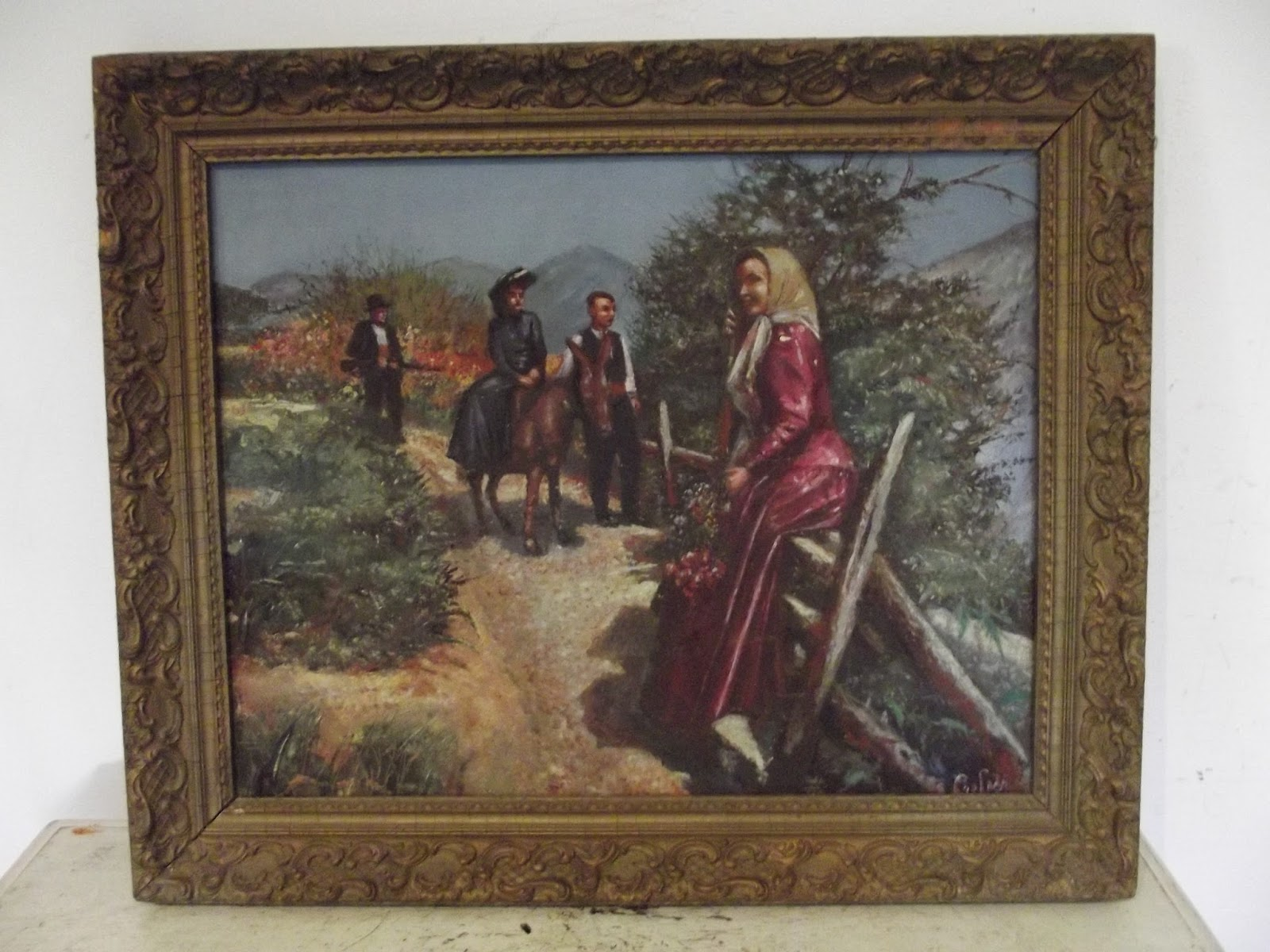 Details About Antique Painting Provencal Promenade En Foret Chasse Oil On Panel Signed Hsp