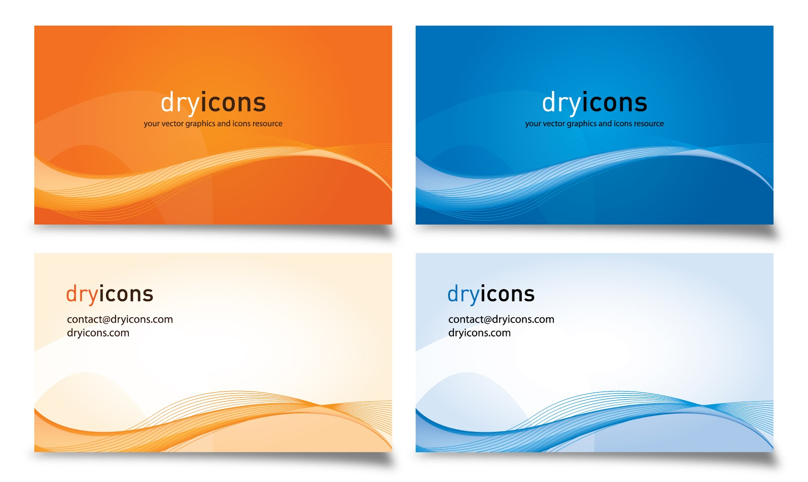 Laorejadevanhalen vector stylish vector business cards set of four stylish vector business card designs templates in blue orange and white colors fbccfo Images