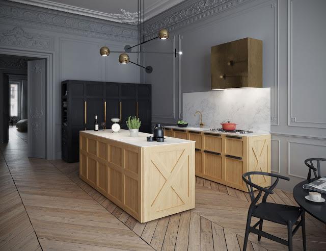 Уникальная мебель из дерева в шикарных парижских апартаментах