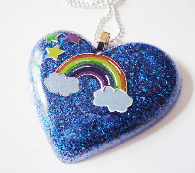 Kawaii Cutie Rainbow And Stars Blue Glitter Resin