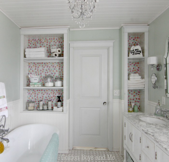 DIY master bathroom built-ins with floral drawer liner to back shelves - www.goldenboysandme.com