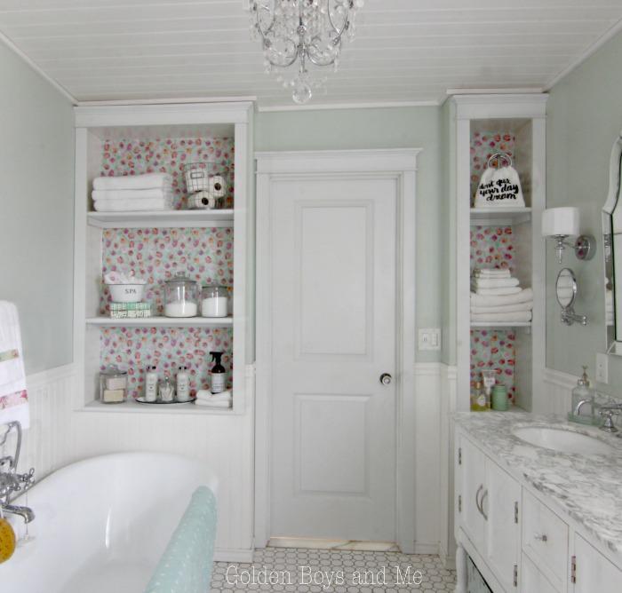 DIY Master Bathroom Built Ins With Floral Drawer Liner To Back Shelves    Www.