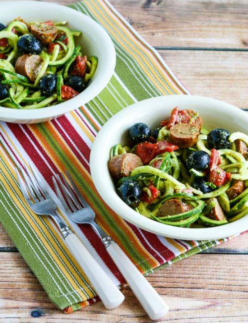 Zucchini Noodle Mock Pasta Salad found on KalynsKitchen.com