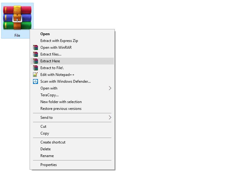 Ekstrak file rar
