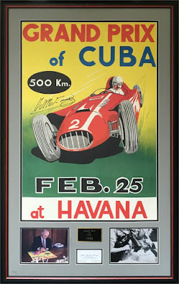 1958 Grand Prix of Cuba reproduction poster autographed by Fangio