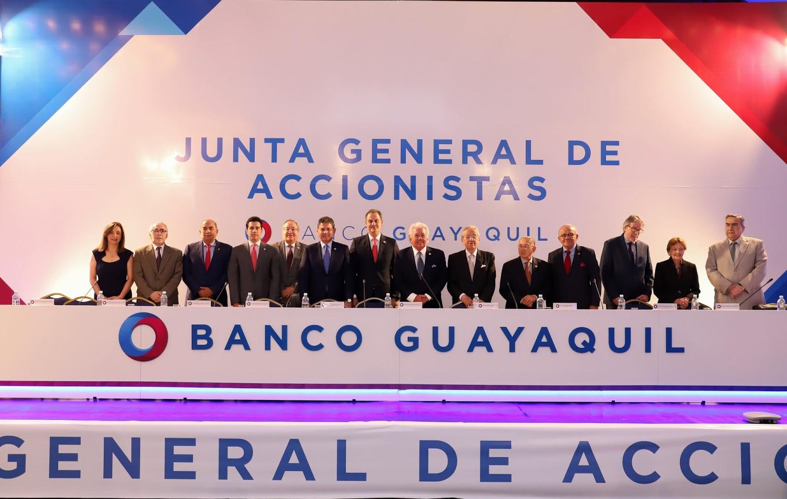Junta de accionistas de Banco Guayaquil aprueba pago de dividendos a sus accionistas