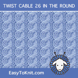 3/3 Right cross stitch, easy to knit in the round