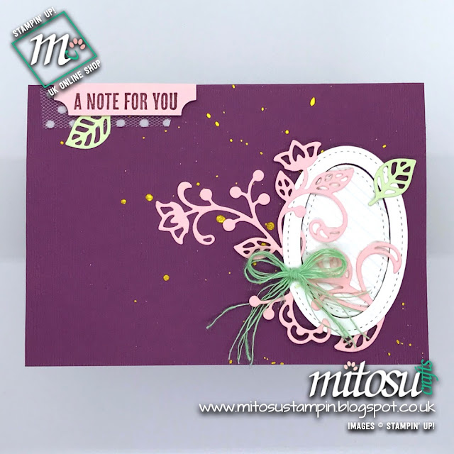 Stampin' Up! Flourish Thinlits Card Idea. Order Craft Products from Mitosu Crafts UK Online Shop