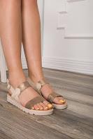 Sandale Aniss casual bej cu insertii bronz