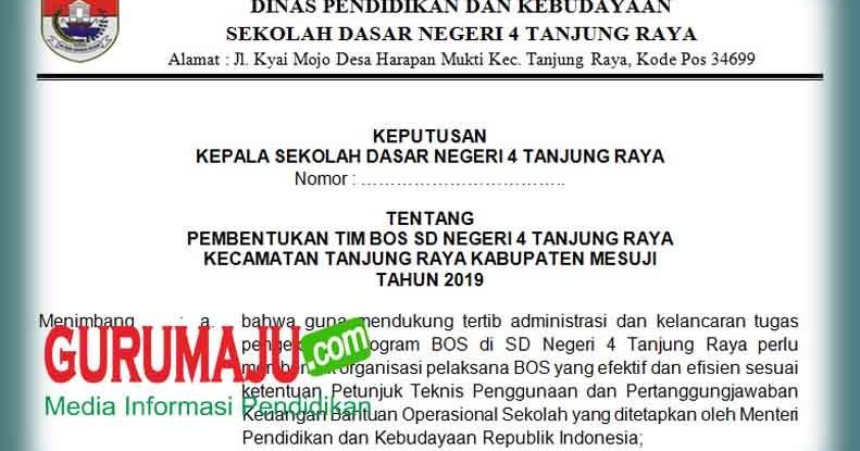 Contoh Sk Tim Bos Reguler 2019 2020 Untuk Sd Smp Sma