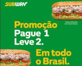 Promoção Subway 2018 Leve Dois Sanduíches Pague Um