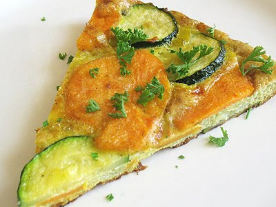 sweet potato frittata with leeks and zucchini