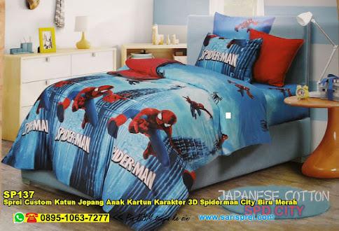 Sprei Custom Katun Jepang Anak Kartun Karakter 3D Spiderman City Biru Merah