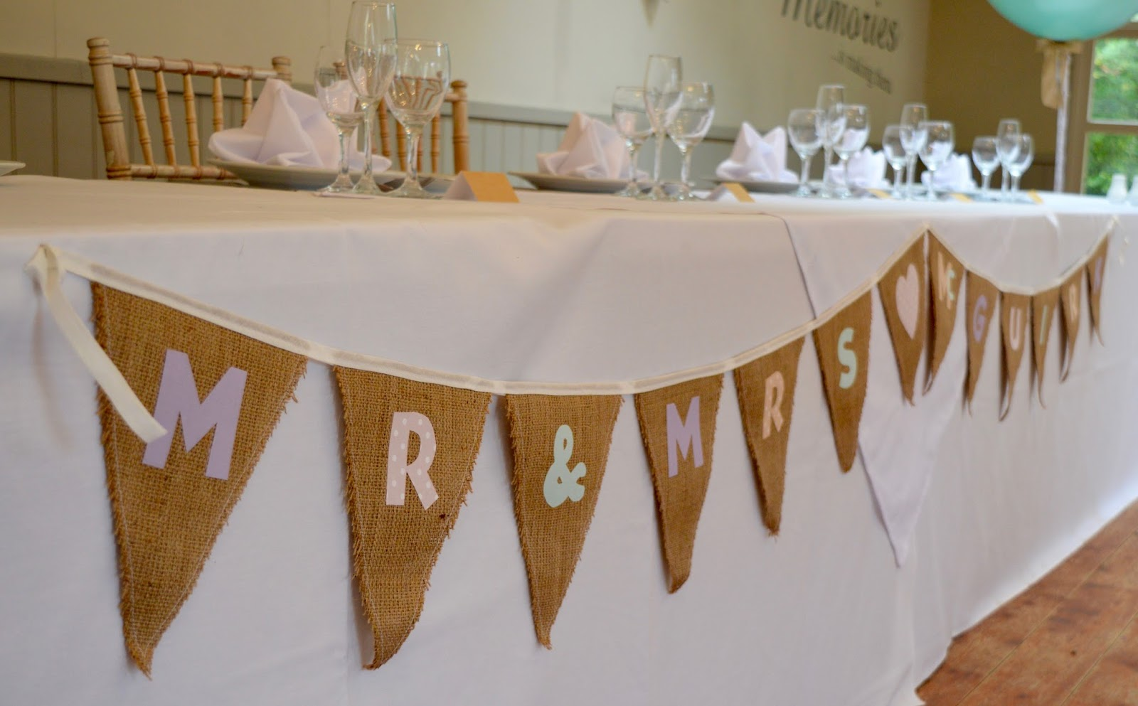 Weddings at The Parlour at Blagdon in Northumberland - the willow room top table