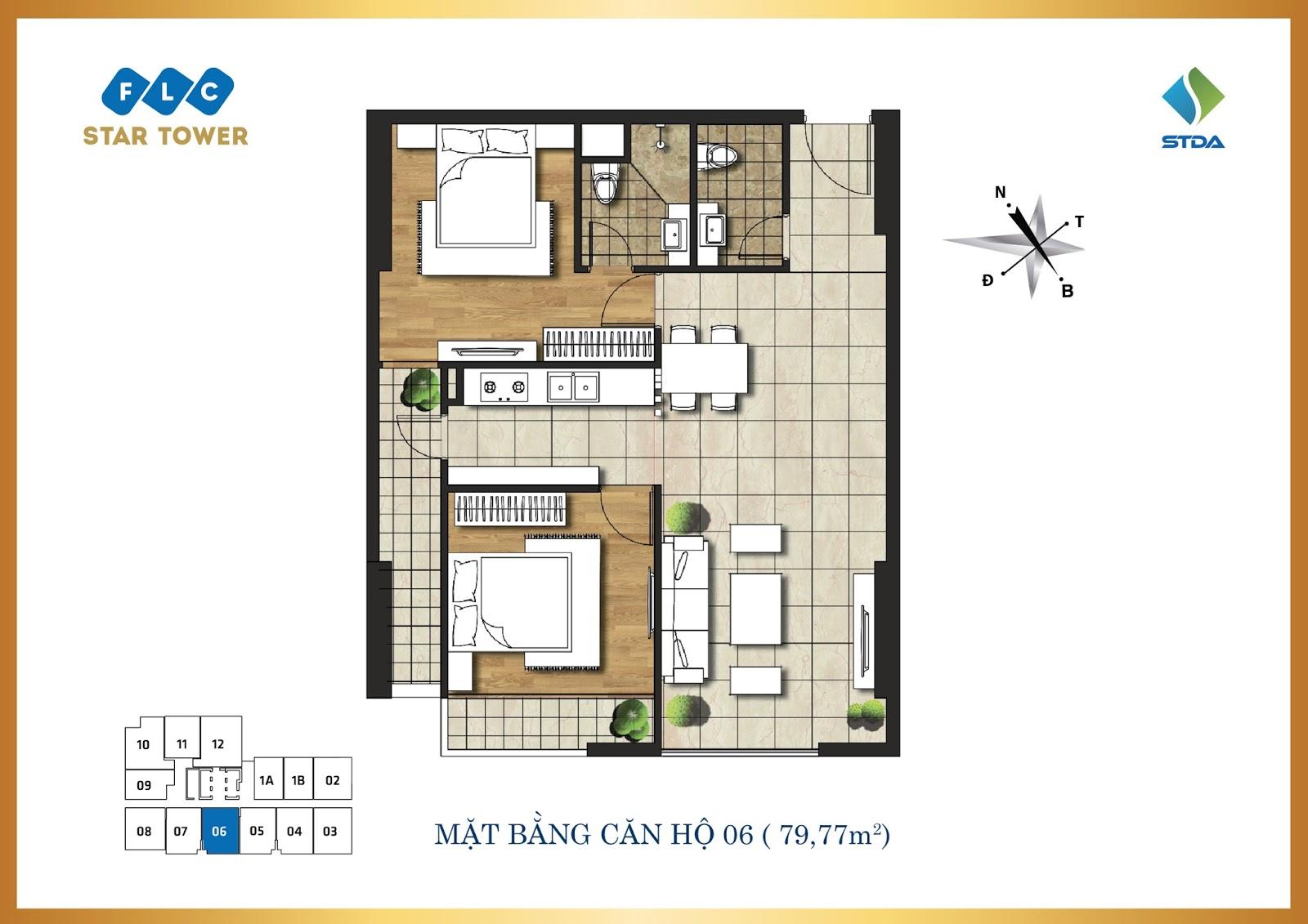 Thiết kế căn hộ số 6 - Chung cư FLC Star Tower