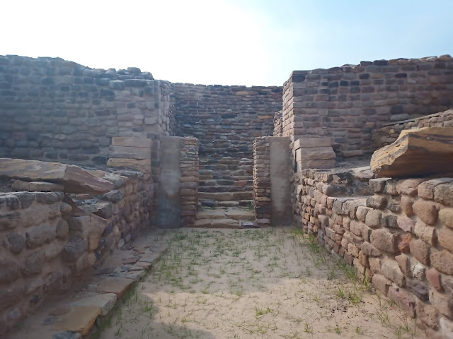 East Gate entrance to Dholavira citadel with stone walls and stone staircase leading up