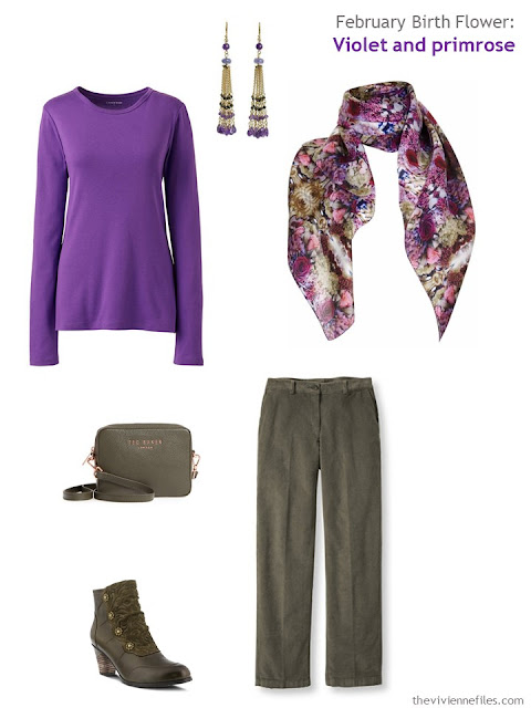 wearing violet with olive green