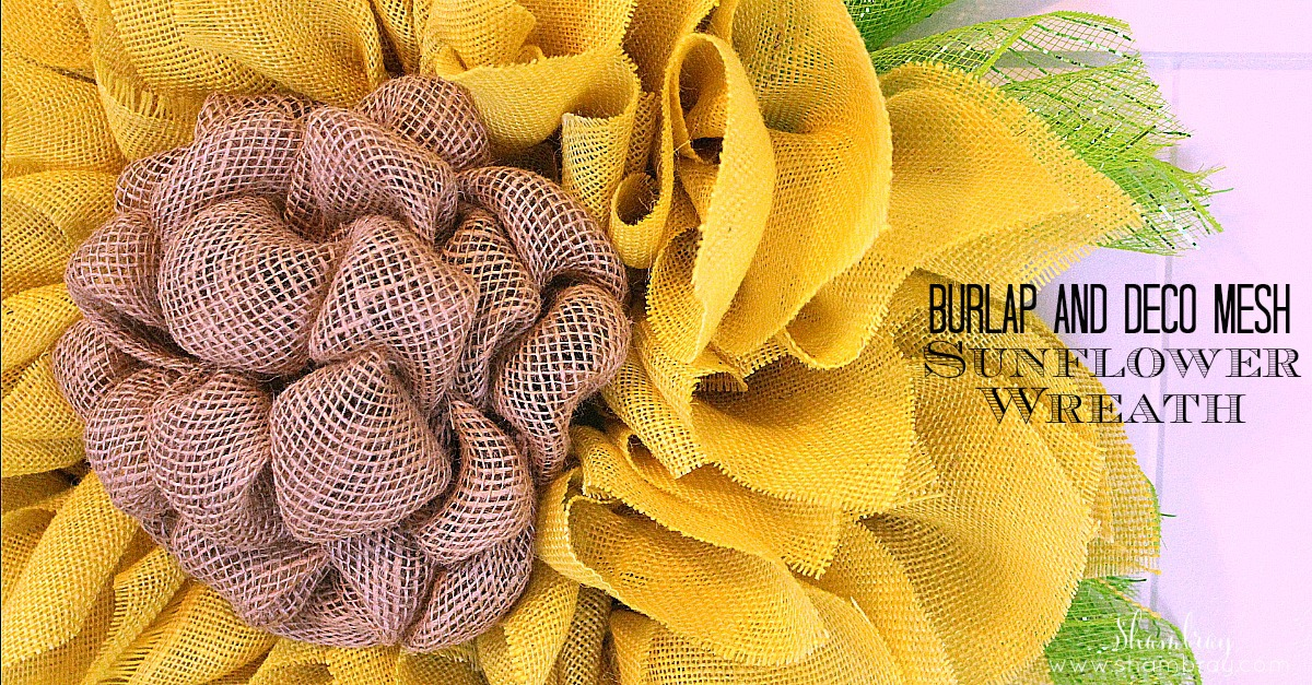 Shambray Burlap And Deco Mesh Sunflower Wreath