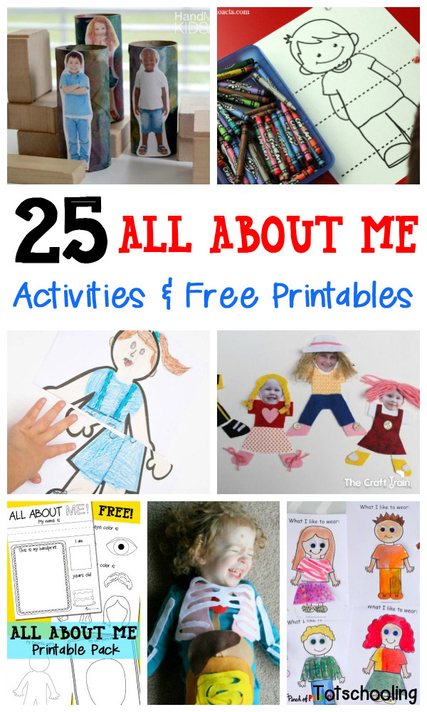 image relating to Toddler Learning Activities Printable Free called 25 All Above Me Things to do No cost Printables Totschooling