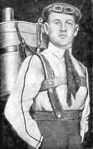 Gleb Kotelnikov dengan penemuannya, ransel parasut .