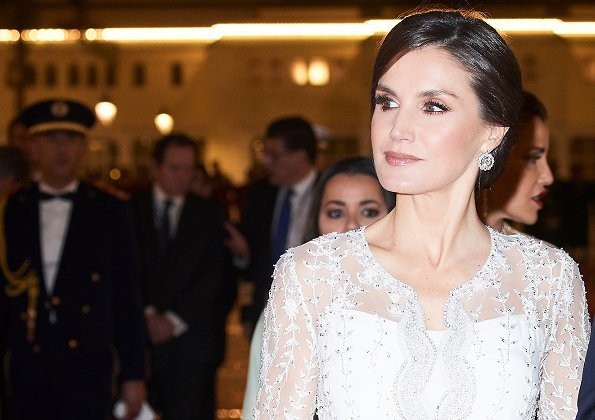 Queen Letizia wore a lace dress by Felipe Varela, diamond earrings