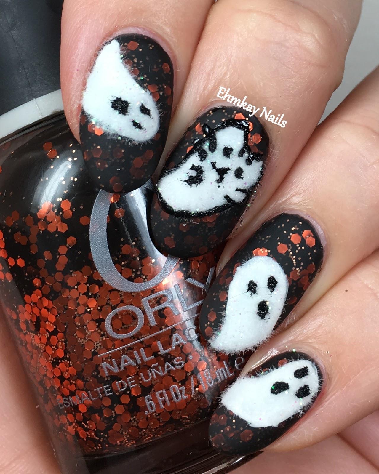 13 Days of Halloween: Pusheen Calendar Series: October 2017 Ghost Pusheen - Ehmkay Nails: 13 Days Of Halloween Nail Art: Pusheen Calendar