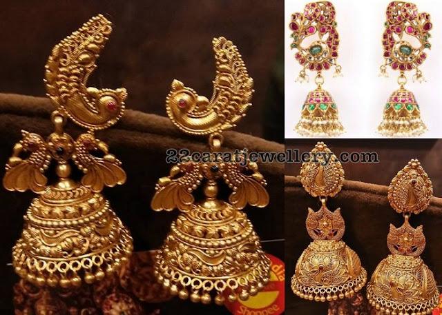 Mesh Work Peacock Antique Jhumkas