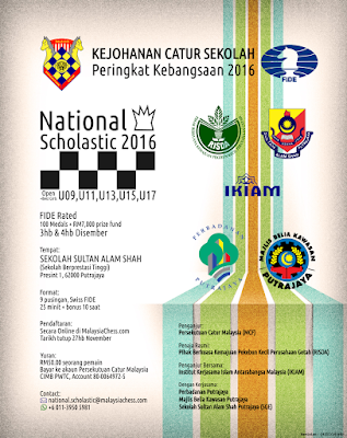 NATIONAL SCHOLASTIC 2016  –  Under-9, U11, U13, U15, U17  (FIDE Rated)
