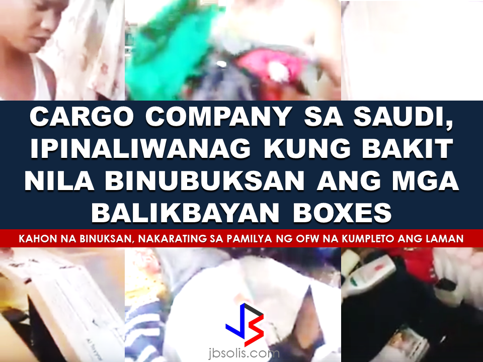 "A representative of cargo company based in Saudi Arabia's video draws flak among the netizens for opening balikbayan boxes without asking permission from the owner of the boxes. In the video, after scanning the boxes, they found suspicious items in the first box which turned to be battery packs and a pressurized flammable canister when they opened the box. When they scanned the second box, they found an excessive amount of liquid that prompted them to open the box and found lotions of commercial quantity which is not allowed but they said they will just let it pass since there are no flammable items found. They just need to seal the bottles one by one. Different reactions from comments including negative ones flooded the thread with almost 16,000 in total and counting.  The video uploader Jhun Cerdena said they made the video for transparency and to explain which items should not be included when sending packages via air cargo. Batteries, especially lithium ion, and aerosol pressurized spray could explode when extreme pressure is applied and could cause catastrophic damage to the plane endangering the lives and properties of the passengers. He also stated that Saudi customs officer are watching them and if they will not follow the protocol, they will be the ones to be fined.  President Duterte has warned customs officials not to open the balikbayan boxes. With strict scrutiny of foreign customs officers especially in the Middle East, particularly in Saudi Arabia like what we have seen in the video above, there will be no chances that it could contain contrabands like drugs and firearms, therefore, opening the boxes on its arrival to the Philippines will be downright unnecessary.   Meanwhile, the balikbayan box which we had seen being opened at the video has reached its destination in the Philippines intact with all the contents inside without damage and no items were being pilfered or lost. The family of the OFW checked it on the spot in the presence of cargo representative who claims to be Jhun Cerdena's wife. Saying that harsh comments on her husband have no basis and they are just doing their jobs as directed by the Saudi Arabian authorities.    Recommended: KumpaS OFW (Kumpulan ng Pangulo Sa mga Filipinos Worldwide) is a compilation of OFW stories, success and failure likewise,  gathered by the Presidential Communications Office to show the real situations of the OFWs working outside the country.  All video clips belong to the Presidential Communications Office. Watch and be inspired. Story #1   This video is the story of an OFW in Saudi Arabia. A former household service workers who strived to succeed and became a successful business woman. She worked as a beautician and eventually put up her own recruitment firm. She devoted herself to helping distressed household workers without expecting anything in return. Fatima Ibrahim is a living example that life may be unforgiving at times but there's always light at the end of the tunnel.  Story #2  Valenardo Haduca, an electronics instructor in Bahrain relates his experience being a teacher in an unfamiliar territory with far different culture. How he needed more patience in dealing with his students. OFWs, more than others develop more patience while working abroad. It is a vital virtue every OFW should have in dealing with other nationalities at any given country.   Story #3  Rosielyn Dela Rita found her refuge at Bahay-Kalinga, a shelter for abused OFW women, (a counterpart of Esteraha for OFW men). Rosielyn was among the OFWs who availed the amnesty and had been repatriated with the help of Philippine Overseas Labor Office in Saudi Arabia.  Story #4  For Randy Ayuste, the path to success was never easy. Before he became a successful graphic/visual artist in Bahrain, he experienced how to be swindled and underpaid. He said that however successful an OFW may be in whatever field you have abroad, it will never be called a success because your family longs for your presence back home.    Story #5  For John Bituin, a DJ in Bahrain, being an OFW is a life of challenges. From being a newbie DJ who hardly earns P20 in the Philippines. He has given a chance to work in Bahrain, from being a DJ to a successful entertainment business owner who brings Filipino bands and talents to Bahrain.    RECOMMENDED: At this age where children love to stay on the couch holding their tablets and mobile phones, an elementary student chooses to be active in school and swimming which made him the ""heaviest"" elementary graduate on earth.   A student in Mabalacat, Pampanga raked 58 medals from academic and different fields. On his Facebook post, he said that this time it's heavier compared to the medals he got last year. Joshua Santiago, 12, graduated in Elementary at Mabiga Mabalacat Elementary School in Mabalacat Pampanga earlier this month. His video post with over a million views as of this writing  shows how many medals he got. Most of his medals are from the swimming competitions where he joined and won including a chance to participate at the Palarong pambansa.  His dedication and determination paid off as he graduated. This little guy inspired everyone around him especially his teammates and classmates. To collect more than 10 medals   would be enough but for him it was unbelievable.    In a facebook status, his mother made a clarification that those 58 medals was from his being an excellent swimmer and from his academic excellence. He was also awarded as ""Athlete of the Year"".    Recommended:  A cleaner in Saudi Arabia was mocked on social media after a photo of him looking at jewelry went viral. The Department of Health expressed concern  over possible mental illness among the young people due to the alarming amount of time they spend on social media.  According to DOH spokesman, Eric Tayag, while social media is a way to connect to other people, it also has adverse effects.  Tayag also said that most juveniles that are fond of social media are also involved in bullying, angst and depression.  Bullying and depression can start with issues about love, relationship with the same sex, unplanned pregnancy, problems at school, at home and health problems.  Common symptoms that a person is experiencing depression is that  they do not do daily activities normally like taking a bath, skipping meals, always sad and not engaging in conversations.   {INSERT 2-3 PARAGRAPHS HERE} {INSERT ANOTHER 5 {INSERT 2-3 PARAGRAPH   The severe depression that burdened the young people through social media results to bullying. even social media creates a connection, people with mental health issues perceive it differently.  DOH step is a response to the World Health Organization (WHO) reports that from 2005 to 2015, the number of people who suffer depression that leads to committing suicide has increased to 18%.  WHO celebrated  World health Day that focused on how to cure depression problems. It can be cured by means of counselling.  In 2005, 280 million people suffered from depression and has increased to 332 Million in 2015. This is a serious threat to all the young people around the world including the Filipino youth.  In the records of the DOH HOPE Line, they have received 3,479 depression  related phone calls in 2016. Most number of calls are recorded on November and December last year and on February this year.  Health Secretary Paulyn Jean Ubial said that the DOH has allocated P100 million funds to address the said problem in mental illness . Source: Philstar Recommended: Facebook has been a part of everyday life for many. From here they can be aware of what's currently happening around them, get in touch with old friends, some even sell things and make a living. Social media platforms like facebook provides useful informations from simple shoutouts and statuses to relevant news and current events. But lately, a lot of false news has invaded the social media spreading false and malicious posts. A lot of them is just a click bait which redirects you to a site full of ads. Some money-making maniacs are taking advantage of the popularity of social media sites making it difficult for the netizens to spot a legitimate posts from a fake one.    A wife of an OFW asked OWWA about what sort of  business she can start as a spouse of an OFW who is an active member. Samantha Natividad  said that her husband is an OFW for a long time and she wants to start a business to help her husband as their children are growing up as well as their expenses. As a helpful information for other OFW spouses  who also want to help  their OFW partners, we made this info graphics regarding this topic.  Does OWWA have an existing program for OFWs who want to start their own business? Yes. The Overseas Workers Welfare Administration (OWWA) has  two existing programs under the reintegration program  for those who want to start their own business.  What are those? In the first program, OWWA can give a 'grant' for OFW spouses who want to start even a small scale business. How much is the amount of funds OWWA can provide under this program? The fund that can be granted under this program depends on what kind of business they want to start. However, the maximum amount is only P20,000.   What is the other program? The other program is called a 'special loan program'. this loan program is through partnership with the Development Bank of the Philippines (DBP) and the Land Bank of the Philippines.  How much can an OFW spouse can avail on this program? OFWs and their spouses can avail a loan amounting from P300,000 up to P2,000,000.  How much should be the net income of an OFW to avail of this loan? For an OFW to avail of this loan, he/she must be earning a net monthly income of at least P10,000 to avail the loan amount of P3,000 up to P2 Million.    How much will be the interest rate? The loan will have an interest rate of 7.5% annually.  What will be the mode/frequency of payment? Depending on project's cash flow, the OFW can pay it on monthly, quarterly or annual basis.  Where  should the OFW wife/husband apply to avail these programs? They can apply at any OWWA Regional Welfare Office (ORW) nearest to them.  What are the eligibility requirements  for the  OFW to be qualified to avail? 1. The OFW must be an active OWWA member.  2. OFW husband/wife who want to avail must have completed the Entrepreneurial Development Training (EDT) conducted by NRCO and OWWA ORWsin cooperation with the Department of Trade and Industry/Philippine Trade Training Center (PTTC)/ Bureau of Micro, Small and Medium Enterprise Development (BSMED).  3. They must provide 20% equity.  4. The project or business must generate a net income of at least P10,000 for the OFW.  For details and information regarding these program, you can contact OWWA Regional Offices in your area.  *These information is based on the answer provided by OWWA Deputy Administrator Josefino Torres. Source: BanderaInquirer.net   Recommended:     2017 Top 10 IDEAS for OFWs to Invest  A Filipina based in Waikato, New Zealand has now been sentenced to 11 months and  2 weeks of house arrest after she was convicted for 284 immigration fraud charges involving her visa scam back in October 2015. A 180 hour community service also comes with the sentence. Loraine Anne Jayme, 35, a resident of Te Aroha, Waikato has a dual citizenship. For every OFW who wish to come to New Zealand, she charges $2,250 each. It took some time for the scam to be uncovered because Immigration New Zealand (INZ) didn't initially realise a large portion of the workers were processing their application through the alleged ringleader.   However, Immigration Minister Michael Woodhouse said that more than a thousand Filipinos who might have entered the country illegally  using fake visas could stay.  Mr. Woodland said that they could stay to avoid potential damage to the dairy industry and the rebuilding of Christchurch. There are 38,000  OFWs working on dairy farms in New Zealand and they are living with pretty good reputation with regards to their work ethics and they are worried about what it could mean to them.  ""We're law abiding people. We like to see the law of our land upheld and proper process done,"" Mr Lewis said.   ""So yeah, I have to give credit to Immigration New Zealand for doing it and hopefully they'll be back on deck next week processing them within their required rules,"" he added. The authorities are now auditing farms around the Waikato, Canterbury and Southland. Source: TVNZ, NewsHub, Inquirer RECOMMENDED:  The mother of a 12-year old girl who mysteriously died while on her father's care in Jeddah, Saudi Arabia sought the help of the Philippine government, particularly on the Presidential Action Center to help her forward the case to the DFA to allow the Philippine Consulate in Jeddah  to transmit the autopsy report conducted on her daughter.Bliss Mendoza, an OFW in Canada was working in Jeddah as a nurse together with her husband and daughter ""Tipay"" before she worked in Canada and left her daughter with her husband's care in Jeddah.     The OFWs are the reason why President Rodrigo Duterte is pushing through with the campaign on illegal drugs, acknowledging their hardships and sacrifices. He said that as he visit the countries where there are OFWs, he has heard sad stories about them: sexually abused Filipinas,domestic helpers being forced to work on a number of employers. ""I have been to many places. I have been to the Middle East. You know, the husband is working in one place, the wife in another country. The so many sad stories I hear about our women being raped, abused sexually,"" The President said. About Filipino domestic helpers, he said:  ""If you are working on a family and the employer's sibling doesn't have a helper, you will also work for them. And if in a compound,the son-in-law of the employer is also living in there, you will also work for him.So, they would finish their work on sunrise."" He even refer to the OFWs being similar to the African slaves because of the situation that they have been into for the sake of their families back home. Citing instances that some of them, out of deep despair, resorted to ending their own lives.  The President also said that he finds it heartbreaking to know that after all the sacrifices of the OFWs working abroad for the future of their families they would come home just to learn that their children has been into illegal drugs. ""I made no bones about my hatred. I said, 'If you do drugs in my city, if you destroy our daughters and sons, I'll just have to kill you.' I repeated the same warning when i became president,"" he said.   Critics of the so-called violent war on drugs under President Duterte's administration includes local and international human rights groups, linking the campaign on thousands of drug-related killings.  Police figures show that legitimate police operations have led to over 2,600 deaths of individuals involved in drugs since the war on drugs began. However, the war on drugs has been evident that the extent of drug menace should be taken seriously. The drug personalities includes high ranking officials and they thrive in the expense of our own children,if not being into drugs, being victimized by drug related crimes. The campaign on illegal drugs has somehow made a statement among the drug pushers and addicts. If the common citizen fear walking on the streets at night worrying about the drug addicts lurking in the dark, now they can walk peacefully while the drug addicts hide in fear that the police authorities might get them. Source:GMA {INSERT ALL PARAGRAPHS HERE {EMBED 3 FB PAGES POST FROM JBSOLIS/THOUGHTSKOTO/PEBA HERE OR INSERT 3 LINKS}   ©2017 THOUGHTSKOTO www.jbsolis.com SEARCH JBSOLIS The OFWs are the reason why President Rodrigo Duterte is pushing through with the campaign on illegal drugs, acknowledging their hardships and sacrifices.     ©2017 THOUGHTSKOTO www.jbsolis.com SEARCH JBSOLIS The mother of a 12-year old girl who mysteriously died while on her father's care in Jeddah, Saudi Arabia sought the help of the Philippine government, particularly on the Presidential Action Center to help her forward the case to the DFA to allow the Philippine Consulate in Jeddah  to transmit the autopsy report conducted on her daughter.Bliss Mendoza, an OFW in Canada was working in Jeddah as a nurse together with her husband and daughter ""Tipay"" before she worked in Canada and left her daughter with her husband's care in Jeddah.    The OFWs are the reason why President Rodrigo Duterte is pushing through with the campaign on illegal drugs, acknowledging their hardships and sacrifices. He said that as he visit the countries where there are OFWs, he has heard sad stories about them: sexually abused Filipinas,domestic helpers being forced to work on a number of employers. ""I have been to many places. I have been to the Middle East. You know, the husband is working in one place, the wife in another country. The so many sad stories I hear about our women being raped, abused sexually,"" The President said. About Filipino domestic helpers, he said:  ""If you are working on a family and the employer's sibling doesn't have a helper, you will also work for them. And if in a compound,the son-in-law of the employer is also living in there, you will also work for him.So, they would finish their work on sunrise."" He even refer to the OFWs being similar to the African slaves because of the situation that they have been into for the sake of their families back home. Citing instances that some of them, out of deep despair, resorted to ending their own lives.  The President also said that he finds it heartbreaking to know that after all the sacrifices of the OFWs working abroad for the future of their families they would come home just to learn that their children has been into illegal drugs. ""I made no bones about my hatred. I said, 'If you do drugs in my city, if you destroy our daughters and sons, I'll just have to kill you.' I repeated the same warning when i became president,"" he said.   Critics of the so-called violent war on drugs under President Duterte's administration includes local and international human rights groups, linking the campaign on thousands of drug-related killings.  Police figures show that legitimate police operations have led to over 2,600 deaths of individuals involved in drugs since the war on drugs began. However, the war on drugs has been evident that the extent of drug menace should be taken seriously. The drug personalities includes high ranking officials and they thrive in the expense of our own children,if not being into drugs, being victimized by drug related crimes. The campaign on illegal drugs has somehow made a statement among the drug pushers and addicts. If the common citizen fear walking on the streets at night worrying about the drug addicts lurking in the dark, now they can walk peacefully while the drug addicts hide in fear that the police authorities might get them. Source:GMA {INSERT ALL PARAGRAPHS HERE {EMBED 3 FB PAGES POST FROM JBSOLIS/THOUGHTSKOTO/PEBA HERE OR INSERT 3 LINKS}   ©2017 THOUGHTSKOTO www.jbsolis.com SEARCH JBSOLIS The OFWs are the reason why President Rodrigo Duterte is pushing through with the campaign on illegal drugs, acknowledging their hardships and sacrifices.     ©2017 THOUGHTSKOTO www.jbsolis.com SEARCH JBSOLIS  2017 Top 10 IDEAS for OFWs to Invest  A Filipina based in Waikato, New Zealand has now been sentenced to 11 months and  2 weeks of house arrest after she was convicted for 284 immigration fraud charges involving her visa scam back in October 2015. A 180 hour community service also comes with the sentence. Loraine Anne Jayme, 35, a resident of Te Aroha, Waikato has a dual citizenship. For every OFW who wish to come to New Zealand, she charges $2,250 each. It took some time for the scam to be uncovered because Immigration New Zealand (INZ) didn't initially realise a large portion of the workers were processing their application through the alleged ringleader.   However, Immigration Minister Michael Woodhouse said that more than a thousand Filipinos who might have entered the country illegally  using fake visas could stay.  Mr. Woodland said that they could stay to avoid potential damage to the dairy industry and the rebuilding of Christchurch. There are 38,000  OFWs working on dairy farms in New Zealand and they are living with pretty good reputation with regards to their work ethics and they are worried about what it could mean to them.  ""We're law abiding people. We like to see the law of our land upheld and proper process done,"" Mr Lewis said.   ""So yeah, I have to give credit to Immigration New Zealand for doing it and hopefully they'll be back on deck next week processing them within their required rules,"" he added. The authorities are now auditing farms around the Waikato, Canterbury and Southland. Source: TVNZ, NewsHub, Inquirer RECOMMENDED:  The mother of a 12-year old girl who mysteriously died while on her father's care in Jeddah, Saudi Arabia sought the help of the Philippine government, particularly on the Presidential Action Center to help her forward the case to the DFA to allow the Philippine Consulate in Jeddah  to transmit the autopsy report conducted on her daughter.Bliss Mendoza, an OFW in Canada was working in Jeddah as a nurse together with her husband and daughter ""Tipay"" before she worked in Canada and left her daughter with her husband's care in Jeddah.     The OFWs are the reason why President Rodrigo Duterte is pushing through with the campaign on illegal drugs, acknowledging their hardships and sacrifices. He said that as he visit the countries where there are OFWs, he has heard sad stories about them: sexually abused Filipinas,domestic helpers being forced to work on a number of employers. ""I have been to many places. I have been to the Middle East. You know, the husband is working in one place, the wife in another country. The so many sad stories I hear about our women being raped, abused sexually,"" The President said. About Filipino domestic helpers, he said:  ""If you are working on a family and the employer's sibling doesn't have a helper, you will also work for them. And if in a compound,the son-in-law of the employer is also living in there, you will also work for him.So, they would finish their work on sunrise."" He even refer to the OFWs being similar to the African slaves because of the situation that they have been into for the sake of their families back home. Citing instances that some of them, out of deep despair, resorted to ending their own lives.  The President also said that he finds it heartbreaking to know that after all the sacrifices of the OFWs working abroad for the future of their families they would come home just to learn that their children has been into illegal drugs. ""I made no bones about my hatred. I said, 'If you do drugs in my city, if you destroy our daughters and sons, I'll just have to kill you.' I repeated the same warning when i became president,"" he said.   Critics of the so-called violent war on drugs under President Duterte's administration includes local and international human rights groups, linking the campaign on thousands of drug-related killings.  Police figures show that legitimate police operations have led to over 2,600 deaths of individuals involved in drugs since the war on drugs began. However, the war on drugs has been evident that the extent of drug menace should be taken seriously. The drug personalities includes high ranking officials and they thrive in the expense of our own children,if not being into drugs, being victimized by drug related crimes. The campaign on illegal drugs has somehow made a statement among the drug pushers and addicts. If the common citizen fear walking on the streets at night worrying about the drug addicts lurking in the dark, now they can walk peacefully while the drug addicts hide in fear that the police authorities might get them. Source:GMA {INSERT ALL PARAGRAPHS HERE {EMBED 3 FB PAGES POST FROM JBSOLIS/THOUGHTSKOTO/PEBA HERE OR INSERT 3 LINKS}   ©2017 THOUGHTSKOTO www.jbsolis.com SEARCH JBSOLIS The OFWs are the reason why President Rodrigo Duterte is pushing through with the campaign on illegal drugs, acknowledging their hardships and sacrifices.     ©2017 THOUGHTSKOTO www.jbsolis.com SEARCH JBSOLIS The mother of a 12-year old girl who mysteriously died while on her father's care in Jeddah, Saudi Arabia sought the help of the Philippine government, particularly on the Presidential Action Center to help her forward the case to the DFA to allow the Philippine Consulate in Jeddah  to transmit the autopsy report conducted on her daughter.Bliss Mendoza, an OFW in Canada was working in Jeddah as a nurse together with her husband and daughter ""Tipay"" before she worked in Canada and left her daughter with her husband's care in Jeddah.   The OFWs are the reason why President Rodrigo Duterte is pushing through with the campaign on illegal drugs, acknowledging their hardships and sacrifices. He said that as he visit the countries where there are OFWs, he has heard sad stories about them: sexually abused Filipinas,domestic helpers being forced to work on a number of employers. ""I have been to many places. I have been to the Middle East. You know, the husband is working in one place, the wife in another country. The so many sad stories I hear about our women being raped, abused sexually,"" The President said. About Filipino domestic helpers, he said:  ""If you are working on a family and the employer's sibling doesn't have a helper, you will also work for them. And if in a compound,the son-in-law of the employer is also living in there, you will also work for him.So, they would finish their work on sunrise."" He even refer to the OFWs being similar to the African slaves because of the situation that they have been into for the sake of their families back home. Citing instances that some of them, out of deep despair, resorted to ending their own lives.  The President also said that he finds it heartbreaking to know that after all the sacrifices of the OFWs working abroad for the future of their families they would come home just to learn that their children has been into illegal drugs. ""I made no bones about my hatred. I said, 'If you do drugs in my city, if you destroy our daughters and sons, I'll just have to kill you.' I repeated the same warning when i became president,"" he said.   Critics of the so-called violent war on drugs under President Duterte's administration includes local and international human rights groups, linking the campaign on thousands of drug-related killings.  Police figures show that legitimate police operations have led to over 2,600 deaths of individuals involved in drugs since the war on drugs began. However, the war on drugs has been evident that the extent of drug menace should be taken seriously. The drug personalities includes high ranking officials and they thrive in the expense of our own children,if not being into drugs, being victimized by drug related crimes. The campaign on illegal drugs has somehow made a statement among the drug pushers and addicts. If the common citizen fear walking on the streets at night worrying about the drug addicts lurking in the dark, now they can walk peacefully while the drug addicts hide in fear that the police authorities might get them. Source:GMA {INSERT ALL PARAGRAPHS HERE {EMBED 3 FB PAGES POST FROM JBSOLIS/THOUGHTSKOTO/PEBA HERE OR INSERT 3 LINKS}   ©2017 THOUGHTSKOTO www.jbsolis.com SEARCH JBSOLIS The OFWs are the reason why President Rodrigo Duterte is pushing through with the campaign on illegal drugs, acknowledging their hardships and sacrifices.  ©2017 THOUGHTSKOTO www.jbsolis.com SEARCH JBSOLISFacebook has been a part of everyday life for many. From here they can be aware of what's currently happening around them, get in touch with old friends, some even sell things and make a living. Social media platforms like facebook provides useful informations from simple shoutouts and statuses to relevant news and current events. But lately, a lot of false news has invaded the social media spreading false and malicious posts. A lot of them is just a click bait which redirects you to a site full of ads. Some money-making maniacs are taking advantage of the popularity of social media sites making it difficult for the netizens to spot a legitimate posts from a fake one.    A wife of an OFW asked OWWA about what sort of  business she can start as a spouse of an OFW who is an active member. Samantha Natividad  said that her husband is an OFW for a long time and she wants to start a business to help her husband as their children are growing up as well as their expenses. As a helpful information for other OFW spouses  who also want to help  their OFW partners, we made this info graphics regarding this topic.  Does OWWA have an existing program for OFWs who want to start their own business? Yes. The Overseas Workers Welfare Administration (OWWA) has  two existing programs under the reintegration program  for those who want to start their own business.  What are those? In the first program, OWWA can give a 'grant' for OFW spouses who want to start even a small scale business. How much is the amount of funds OWWA can provide under this program? The fund that can be granted under this program depends on what kind of business they want to start. However, the maximum amount is only P20,000.   What is the other program? The other program is called a 'special loan program'. this loan program is through partnership with the Development Bank of the Philippines (DBP) and the Land Bank of the Philippines.  How much can an OFW spouse can avail on this program? OFWs and their spouses can avail a loan amounting from P300,000 up to P2,000,000.  How much should be the net income of an OFW to avail of this loan? For an OFW to avail of this loan, he/she must be earning a net monthly income of at least P10,000 to avail the loan amount of P3,000 up to P2 Million.    How much will be the interest rate? The loan will have an interest rate of 7.5% annually.  What will be the mode/frequency of payment? Depending on project's cash flow, the OFW can pay it on monthly, quarterly or annual basis.  Where  should the OFW wife/husband apply to avail these programs? They can apply at any OWWA Regional Welfare Office (ORW) nearest to them.  What are the eligibility requirements  for the  OFW to be qualified to avail? 1. The OFW must be an active OWWA member.  2. OFW husband/wife who want to avail must have completed the Entrepreneurial Development Training (EDT) conducted by NRCO and OWWA ORWsin cooperation with the Department of Trade and Industry/Philippine Trade Training Center (PTTC)/ Bureau of Micro, Small and Medium Enterprise Development (BSMED).  3. They must provide 20% equity.  4. The project or business must generate a net income of at least P10,000 for the OFW.  For details and information regarding these program, you can contact OWWA Regional Offices in your area.  *These information is based on the answer provided by OWWA Deputy Administrator Josefino Torres. Source: BanderaInquirer.net   Recommended:     2017 Top 10 IDEAS for OFWs to Invest  A Filipina based in Waikato, New Zealand has now been sentenced to 11 months and  2 weeks of house arrest after she was convicted for 284 immigration fraud charges involving her visa scam back in October 2015. A 180 hour community service also comes with the sentence. Loraine Anne Jayme, 35, a resident of Te Aroha, Waikato has a dual citizenship. For every OFW who wish to come to New Zealand, she charges $2,250 each. It took some time for the scam to be uncovered because Immigration New Zealand (INZ) didn't initially realise a large portion of the workers were processing their application through the alleged ringleader.   However, Immigration Minister Michael Woodhouse said that more than a thousand Filipinos who might have entered the country illegally  using fake visas could stay.  Mr. Woodland said that they could stay to avoid potential damage to the dairy industry and the rebuilding of Christchurch. There are 38,000  OFWs working on dairy farms in New Zealand and they are living with pretty good reputation with regards to their work ethics and they are worried about what it could mean to them.  ""We're law abiding people. We like to see the law of our land upheld and proper process done,"" Mr Lewis said.   ""So yeah, I have to give credit to Immigration New Zealand for doing it and hopefully they'll be back on deck next week processing them within their required rules,"" he added. The authorities are now auditing farms around the Waikato, Canterbury and Southland. Source: TVNZ, NewsHub, Inquirer RECOMMENDED:  The mother of a 12-year old girl who mysteriously died while on her father's care in Jeddah, Saudi Arabia sought the help of the Philippine government, particularly on the Presidential Action Center to help her forward the case to the DFA to allow the Philippine Consulate in Jeddah  to transmit the autopsy report conducted on her daughter.Bliss Mendoza, an OFW in Canada was working in Jeddah as a nurse together with her husband and daughter ""Tipay"" before she worked in Canada and left her daughter with her husband's care in Jeddah.     The OFWs are the reason why President Rodrigo Duterte is pushing through with the campaign on illegal drugs, acknowledging their hardships and sacrifices. He said that as he visit the countries where there are OFWs, he has heard sad stories about them: sexually abused Filipinas,domestic helpers being forced to work on a number of employers. ""I have been to many places. I have been to the Middle East. You know, the husband is working in one place, the wife in another country. The so many sad stories I hear about our women being raped, abused sexually,"" The President said. About Filipino domestic helpers, he said:  ""If you are working on a family and the employer's sibling doesn't have a helper, you will also work for them. And if in a compound,the son-in-law of the employer is also living in there, you will also work for him.So, they would finish their work on sunrise."" He even refer to the OFWs being similar to the African slaves because of the situation that they have been into for the sake of their families back home. Citing instances that some of them, out of deep despair, resorted to ending their own lives.  The President also said that he finds it heartbreaking to know that after all the sacrifices of the OFWs working abroad for the future of their families they would come home just to learn that their children has been into illegal drugs. ""I made no bones about my hatred. I said, 'If you do drugs in my city, if you destroy our daughters and sons, I'll just have to kill you.' I repeated the same warning when i became president,"" he said.   Critics of the so-called violent war on drugs under President Duterte's administration includes local and international human rights groups, linking the campaign on thousands of drug-related killings.  Police figures show that legitimate police operations have led to over 2,600 deaths of individuals involved in drugs since the war on drugs began. However, the war on drugs has been evident that the extent of drug menace should be taken seriously. The drug personalities includes high ranking officials and they thrive in the expense of our own children,if not being into drugs, being victimized by drug related crimes. The campaign on illegal drugs has somehow made a statement among the drug pushers and addicts. If the common citizen fear walking on the streets at night worrying about the drug addicts lurking in the dark, now they can walk peacefully while the drug addicts hide in fear that the police authorities might get them. Source:GMA {INSERT ALL PARAGRAPHS HERE {EMBED 3 FB PAGES POST FROM JBSOLIS/THOUGHTSKOTO/PEBA HERE OR INSERT 3 LINKS}   ©2017 THOUGHTSKOTO www.jbsolis.com SEARCH JBSOLIS The OFWs are the reason why President Rodrigo Duterte is pushing through with the campaign on illegal drugs, acknowledging their hardships and sacrifices.     ©2017 THOUGHTSKOTO www.jbsolis.com SEARCH JBSOLIS The mother of a 12-year old girl who mysteriously died while on her father's care in Jeddah, Saudi Arabia sought the help of the Philippine government, particularly on the Presidential Action Center to help her forward the case to the DFA to allow the Philippine Consulate in Jeddah  to transmit the autopsy report conducted on her daughter.Bliss Mendoza, an OFW in Canada was working in Jeddah as a nurse together with her husband and daughter ""Tipay"" before she worked in Canada and left her daughter with her husband's care in Jeddah.    The OFWs are the reason why President Rodrigo Duterte is pushing through with the campaign on illegal drugs, acknowledging their hardships and sacrifices. He said that as he visit the countries where there are OFWs, he has heard sad stories about them: sexually abused Filipinas,domestic helpers being forced to work on a number of employers. ""I have been to many places. I have been to the Middle East. You know, the husband is working in one place, the wife in another country. The so many sad stories I hear about our women being raped, abused sexually,"" The President said. About Filipino domestic helpers, he said:  ""If you are working on a family and the employer's sibling doesn't have a helper, you will also work for them. And if in a compound,the son-in-law of the employer is also living in there, you will also work for him.So, they would finish their work on sunrise."" He even refer to the OFWs being similar to the African slaves because of the situation that they have been into for the sake of their families back home. Citing instances that some of them, out of deep despair, resorted to ending their own lives.  The President also said that he finds it heartbreaking to know that after all the sacrifices of the OFWs working abroad for the future of their families they would come home just to learn that their children has been into illegal drugs. ""I made no bones about my hatred. I said, 'If you do drugs in my city, if you destroy our daughters and sons, I'll just have to kill you.' I repeated the same warning when i became president,"" he said.   Critics of the so-called violent war on drugs under President Duterte's administration includes local and international human rights groups, linking the campaign on thousands of drug-related killings.  Police figures show that legitimate police operations have led to over 2,600 deaths of individuals involved in drugs since the war on drugs began. However, the war on drugs has been evident that the extent of drug menace should be taken seriously. The drug personalities includes high ranking officials and they thrive in the expense of our own children,if not being into drugs, being victimized by drug related crimes. The campaign on illegal drugs has somehow made a statement among the drug pushers and addicts. If the common citizen fear walking on the streets at night worrying about the drug addicts lurking in the dark, now they can walk peacefully while the drug addicts hide in fear that the police authorities might get them. Source:GMA {INSERT ALL PARAGRAPHS HERE {EMBED 3 FB PAGES POST FROM JBSOLIS/THOUGHTSKOTO/PEBA HERE OR INSERT 3 LINKS}   ©2017 THOUGHTSKOTO www.jbsolis.com SEARCH JBSOLIS The OFWs are the reason why President Rodrigo Duterte is pushing through with the campaign on illegal drugs, acknowledging their hardships and sacrifices.     ©2017 THOUGHTSKOTO www.jbsolis.com SEARCH JBSOLIS  2017 Top 10 IDEAS for OFWs to Invest  A Filipina based in Waikato, New Zealand has now been sentenced to 11 months and  2 weeks of house arrest after she was convicted for 284 immigration fraud charges involving her visa scam back in October 2015. A 180 hour community service also comes with the sentence. Loraine Anne Jayme, 35, a resident of Te Aroha, Waikato has a dual citizenship. For every OFW who wish to come to New Zealand, she charges $2,250 each. It took some time for the scam to be uncovered because Immigration New Zealand (INZ) didn't initially realise a large portion of the workers were processing their application through the alleged ringleader.   However, Immigration Minister Michael Woodhouse said that more than a thousand Filipinos who might have entered the country illegally  using fake visas could stay.  Mr. Woodland said that they could stay to avoid potential damage to the dairy industry and the rebuilding of Christchurch. There are 38,000  OFWs working on dairy farms in New Zealand and they are living with pretty good reputation with regards to their work ethics and they are worried about what it could mean to them.  ""We're law abiding people. We like to see the law of our land upheld and proper process done,"" Mr Lewis said.   ""So yeah, I have to give credit to Immigration New Zealand for doing it and hopefully they'll be back on deck next week processing them within their required rules,"" he added. The authorities are now auditing farms around the Waikato, Canterbury and Southland. Source: TVNZ, NewsHub, Inquirer RECOMMENDED:  The mother of a 12-year old girl who mysteriously died while on her father's care in Jeddah, Saudi Arabia sought the help of the Philippine government, particularly on the Presidential Action Center to help her forward the case to the DFA to allow the Philippine Consulate in Jeddah  to transmit the autopsy report conducted on her daughter.Bliss Mendoza, an OFW in Canada was working in Jeddah as a nurse together with her husband and daughter ""Tipay"" before she worked in Canada and left her daughter with her husband's care in Jeddah.     The OFWs are the reason why President Rodrigo Duterte is pushing through with the campaign on illegal drugs, acknowledging their hardships and sacrifices. He said that as he visit the countries where there are OFWs, he has heard sad stories about them: sexually abused Filipinas,domestic helpers being forced to work on a number of employers. ""I have been to many places. I have been to the Middle East. You know, the husband is working in one place, the wife in another country. The so many sad stories I hear about our women being raped, abused sexually,"" The President said. About Filipino domestic helpers, he said:  ""If you are working on a family and the employer's sibling doesn't have a helper, you will also work for them. And if in a compound,the son-in-law of the employer is also living in there, you will also work for him.So, they would finish their work on sunrise."" He even refer to the OFWs being similar to the African slaves because of the situation that they have been into for the sake of their families back home. Citing instances that some of them, out of deep despair, resorted to ending their own lives.  The President also said that he finds it heartbreaking to know that after all the sacrifices of the OFWs working abroad for the future of their families they would come home just to learn that their children has been into illegal drugs. ""I made no bones about my hatred. I said, 'If you do drugs in my city, if you destroy our daughters and sons, I'll just have to kill you.' I repeated the same warning when i became president,"" he said.   Critics of the so-called violent war on drugs under President Duterte's administration includes local and international human rights groups, linking the campaign on thousands of drug-related killings.  Police figures show that legitimate police operations have led to over 2,600 deaths of individuals involved in drugs since the war on drugs began. However, the war on drugs has been evident that the extent of drug menace should be taken seriously. The drug personalities includes high ranking officials and they thrive in the expense of our own children,if not being into drugs, being victimized by drug related crimes. The campaign on illegal drugs has somehow made a statement among the drug pushers and addicts. If the common citizen fear walking on the streets at night worrying about the drug addicts lurking in the dark, now they can walk peacefully while the drug addicts hide in fear that the police authorities might get them. Source:GMA {INSERT ALL PARAGRAPHS HERE {EMBED 3 FB PAGES POST FROM JBSOLIS/THOUGHTSKOTO/PEBA HERE OR INSERT 3 LINKS}   ©2017 THOUGHTSKOTO www.jbsolis.com SEARCH JBSOLIS The OFWs are the reason why President Rodrigo Duterte is pushing through with the campaign on illegal drugs, acknowledging their hardships and sacrifices.     ©2017 THOUGHTSKOTO www.jbsolis.com SEARCH JBSOLIS The mother of a 12-year old girl who mysteriously died while on her father's care in Jeddah, Saudi Arabia sought the help of the Philippine government, particularly on the Presidential Action Center to help her forward the case to the DFA to allow the Philippine Consulate in Jeddah  to transmit the autopsy report conducted on her daughter.Bliss Mendoza, an OFW in Canada was working in Jeddah as a nurse together with her husband and daughter ""Tipay"" before she worked in Canada and left her daughter with her husband's care in Jeddah.   The OFWs are the reason why President Rodrigo Duterte is pushing through with the campaign on illegal drugs, acknowledging their hardships and sacrifices. He said that as he visit the countries where there are OFWs, he has heard sad stories about them: sexually abused Filipinas,domestic helpers being forced to work on a number of employers. ""I have been to many places. I have been to the Middle East. You know, the husband is working in one place, the wife in another country. The so many sad stories I hear about our women being raped, abused sexually,"" The President said. About Filipino domestic helpers, he said:  ""If you are working on a family and the employer's sibling doesn't have a helper, you will also work for them. And if in a compound,the son-in-law of the employer is also living in there, you will also work for him.So, they would finish their work on sunrise."" He even refer to the OFWs being similar to the African slaves because of the situation that they have been into for the sake of their families back home. Citing instances that some of them, out of deep despair, resorted to ending their own lives.  The President also said that he finds it heartbreaking to know that after all the sacrifices of the OFWs working abroad for the future of their families they would come home just to learn that their children has been into illegal drugs. ""I made no bones about my hatred. I said, 'If you do drugs in my city, if you destroy our daughters and sons, I'll just have to kill you.' I repeated the same warning when i became president,"" he said.   Critics of the so-called violent war on drugs under President Duterte's administration includes local and international human rights groups, linking the campaign on thousands of drug-related killings.  Police figures show that legitimate police operations have led to over 2,600 deaths of individuals involved in drugs since the war on drugs began. However, the war on drugs has been evident that the extent of drug menace should be taken seriously. The drug personalities includes high ranking officials and they thrive in the expense of our own children,if not being into drugs, being victimized by drug related crimes. The campaign on illegal drugs has somehow made a statement among the drug pushers and addicts. If the common citizen fear walking on the streets at night worrying about the drug addicts lurking in the dark, now they can walk peacefully while the drug addicts hide in fear that the police authorities might get them. Source:GMA {INSERT ALL PARAGRAPHS HERE {EMBED 3 FB PAGES POST FROM JBSOLIS/THOUGHTSKOTO/PEBA HERE OR INSERT 3 LINKS}   ©2017 THOUGHTSKOTO www.jbsolis.com SEARCH JBSOLIS The OFWs are the reason why President Rodrigo Duterte is pushing through with the campaign on illegal drugs, acknowledging their hardships and sacrifices. A student in Mabalacat, Pampanga raked 58 medals from academic and different fields. On his Facebook post, he said that this time it's heavier compared to the medals he got last year.Joshua Santiago, 12, graduated in Elementary at Mabiga Mabalacat Elementary School in Mabalacat Pampanga earlier this month. His video post with over a million views as of this writing  shows how many medals he got. Most of his medals are from the swimming competitions where he joined and won including a chance to participate at the Palarong pambansa. After occupying government housing project in Pandi Bulacan that has been eventually given to them by NHA, Kadamay members has a new demand on President Duterte. They want free electricity and water supply. In an hour long protest they made infront of Pandi Municipal Hall in Bulacan, some 300 members of Kadamay  wishes that their demand would be heard by the government. After acquiring the houses they illegally occupied, they demanded that electricity and water supply has to be provided by the government for free.   And it just doesn't end there, there's more. Kadamay also demanded that the government must provide them with jobs and livelihood with high income.  Kabataan party list  Rep. Sarah Elago and Anakpawis party list Representative Ariel Casilao, the plight of Kadamay does not only end on occupying government housing projects.  Casilao said that Kadamay members has no jobs and it is government's responsibility to give them adequate livelihood or jobs.  Meanwhile, Kadamay leader admitted that she has  far different status in life  compared to her members. In an interview with Sheryl Cosim on News 5, Marissa Palomeno, admitted that she has two children who are both engineers and another child who is a financial analyst in Canada. Palomeno said even though she is far well-off  as compared to her members, she does not forget where she came from and that is the common thing  that makes her cling with the poor. Recommended: DOLE To Hold A Job And Business/Livelihood Fair On Labor Day    ©2017 THOUGHTSKOTO www.jbsolis.com SEARCH JBSOLIS Meanwhile, Kadamay leader admitted that she has  far different status in life  compared to her members. In an interview with Sheryl Cosim on News 5, Marissa Palomeno, admitted that she has two children who are both engineers and another child who is a financial analyst in Canada. Palomeno said even though she is far well-off  as compared to her members, she does not forget where she came from and that is the common thing  that makes her cling with the poor.*Update: Due to the reports that Kadamay demands free water and electricity from the government, the group has shifted gears and released a public clarification that they only demand direct installation of water and electricity service.   There has always been a debate if  oarfishes can really predict earthquakes before it even happens.  But whether it is a coincidence or they have a supernatural power or ability to foresee or feel the coming earthquake, the bottom line is that every needs to be cautious and ready should any emergency or anything of that sort happens.  There was also sightings of the mysterious oarfish before the recent  earthquakes that happened in Mindanao, particularly in Surigao City that destroyed their airport just earlier this year.  Dr. Rachel Grant , a researcher in animal biology who study the possibility of detecting earthquakes using animal behavior said that the 'myth' about the oarfish being able to sense the forthcoming earthquake could be possible.    However, another scientist by the name of Catherine Dukes said:  ""The question is, can we detect it in the environment?"" And can animals detect a sudden rise in atmospheric ozone? None of these hypotheses, however, is ready to be developed into an animal-based, early-warning system for earth tremors.""  Recent Sightings  On April 17, a huge oarfish was seen Purok Kiblis in Barangay Lomuyon, Saranggani Province at around 4:30 a.m. but later died and washed ashore. Later that day a 4.1 magnitude earthquake, tectonic in origin with a depth of 222 kilometers shook the province with the epicenter recorded at 299 kilometers east of Sarangani. It was just an hour after a magnitude 4.4 with a depth of only 5 kilometers was felt in Pagudpud, Ilocos Norte at 7:28am according to the earthquake bulletin from PAG-ASA . Roughly 3 hours after the oarfish sighting in Sarangani, an earthquake followed.   PHIVOLCS continues to warn everyone about the possibility of a 7.2 magnitude earthquake that could affect Metro Manila and nearby provinces such as Bulacan, Cavite, Laguna, Rizal, Pampanga and others as the result of the West Valley Fault Movement dubbed as ""the Big One"". They said that if the people will not be prepared, it could affect 48,000 lives in one hit.  According to PHIVOLCS Director Renato Solidum, this estimate is made to make people aware that the problem is really big and many people could be injured or worse, die, if we are not prepared. He stressed out that the structural integrity of the buildings and houses in these areas could determine the extent of the effect should such 7.2 magnitude earthquake happened. He said that it is time that we make sure that we should carefully consider to consult building professionals when planning to build a domicile that is earthquake proof making its residence safe.  Solidum also reiterated the importance of having an earthquake drill. Determining what to do and where will be the safest place the family should go.  Every family should also prepare a ""go bag"" or a backpack containing important documents, food, medicine, and other survival items that could last for at least 72 hours.   The ""Big One"" is not a joke. Everyone should be prepared. Though we pray that it would never happen, readiness must be strictly considered to make or family and ourselves safe.  RECOMMENDED:  Earthquake drill or ""shake drill"" will be conducted in different parts of the country and that includes even the barangays to ensure the readiness and preparedness of every citizen should a huge earthquake such as the so called ""the big one"" would occur. This has been confirmed by MMDA Acting Chairman Tim Orbos and said to be taking place on July – the third drill being conducted on a large scale following a similar one last year. According to Philippine Institute of Volcanology and Seismology (PHIVOLCS) Director Renato Solidum, earthquake drills should be done not only in Metro Manila but needed to be expanded in other areas such as Laguna , Bulacan , and Cavite. MMDA's Orbos and PHIVOLC's Solidum presided a meeting earlier this month with the Metro Manila Disaster Response Cluster with regards to the series of earthquakes that occurred in several areas in the past weeks. Solidum urged people to refrain from being affected by rumors that circulate especially on social media, as these simply spread wrong information. Solidum said that people should not be afraid of the successive quakes as these occurrences are normal. He also urged the people not to be affected by baseless rumors that are spreading on social media. Solidum also said that since it was too far away from the West Valley Fault, the tremors had nothing to do with it. Orbos said that barangays would be included in the next earthquake drill, reiterating the importance of local governments in emergency situations like this. Orbos also urged people to prepare their own GO-bag. A Go-bag is an important package containing necessities such as easy-to-open canned food, flashlights, and other survival kits. Preparing a 72-hour survival kit will save the lives of your family and yourself. Aside from being ready when such disaster happens, it is also critical that the houses are made to endure such tremors. if not, a house or a building could collapse leaving many people injured, trapped or worse, dead. The Department of Public Works and Highways should release guidelines on design or blueprints of quake-resilient houses for those that can't afford to hire the services of structural engineers. RECOMMENDED: 2 EARTHQUAKES IN A MATTER OF MINUTES HIT DIFFERENT PARTS OF LUZON ON APRIL 8 EARTHQUAKE TIPS Metro Manila residents and nearby provinces should prepare for the ""Big One,"" the West Valley Fault is now ripe for movement and it can generate a 7.2 magnitude earthquake.  2 EARTHQUAKES IN A MATTER OF MINUTES HIT DIFFERENT PARTS OF LUZON ON APRIL 8  EARTHQUAKE TIPS   Earthquake drill or ""shake drill"" will be conducted in different parts of the country and that includes even the barangays to ensure the readiness and preparedness of every citizen should a huge earthquake such as the so called ""the big one"" would occur. This has been confirmed by MMDA Acting Chairman Tim Orbos and said to be taking place on July – the third drill being conducted on a large scale following a similar one last year. According to Philippine Institute of Volcanology and Seismology (PHIVOLCS) Director Renato Solidum, earthquake drills should be done not only in Metro Manila but needed to be expanded in other areas such as Laguna , Bulacan , and Cavite. MMDA's Orbos and PHIVOLC's Solidum presided a meeting earlier this month with the Metro Manila Disaster Response Cluster with regards to the series of earthquakes that occurred in several areas in the past weeks. Solidum urged people to refrain from being affected by rumors that circulate especially on social media, as these simply spread wrong information. Solidum said that people should not be afraid of the successive quakes as these occurrences are normal. He also urged the people not to be affected by baseless rumors that are spreading on social media. Solidum also said that since it was too far away from the West Valley Fault, the tremors had nothing to do with it. Orbos said that barangays would be included in the next earthquake drill, reiterating the importance of local governments in emergency situations like this. Orbos also urged people to prepare their own GO-bag. A Go-bag is an important package containing necessities such as easy-to-open canned food, flashlights, and other survival kits. Preparing a 72-hour survival kit will save the lives of your family and yourself. Aside from being ready when such disaster happens, it is also critical that the houses are made to endure such tremors. if not, a house or a building could collapse leaving many people injured, trapped or worse, dead. The Department of Public Works and Highways should release guidelines on design or blueprints of quake-resilient houses for those that can't afford to hire the services of structural engineers. RECOMMENDED: 2 EARTHQUAKES IN A MATTER OF MINUTES HIT DIFFERENT PARTS OF LUZON ON APRIL 8 EARTHQUAKE TIPS Metro Manila residents and nearby provinces should prepare for the ""Big One,"" the West Valley Fault is now ripe for movement and it can generate a 7.2 magnitude earthquake.   Earthquake drill or ""shake drill"" will be conducted in different parts of the country and that includes even the barangays to ensure the readiness and preparedness of every citizen should a huge earthquake such as the so called ""the big one"" would occur. This has been confirmed by MMDA Acting Chairman Tim Orbos and said to be taking place on July – the third drill being conducted on a large scale following a similar one last year. According to Philippine Institute of Volcanology and Seismology (PHIVOLCS) Director Renato Solidum, earthquake drills should be done not only in Metro Manila but needed to be expanded in other areas such as Laguna , Bulacan , and Cavite. MMDA's Orbos and PHIVOLC's Solidum presided a meeting earlier this month with the Metro Manila Disaster Response Cluster with regards to the series of earthquakes that occurred in several areas in the past weeks. Solidum urged people to refrain from being affected by rumors that circulate especially on social media, as these simply spread wrong information. Solidum said that people should not be afraid of the successive quakes as these occurrences are normal. He also urged the people not to be affected by baseless rumors that are spreading on social media. Solidum also said that since it was too far away from the West Valley Fault, the tremors had nothing to do with it. Orbos said that barangays would be included in the next earthquake drill, reiterating the importance of local governments in emergency situations like this. Orbos also urged people to prepare their own GO-bag. A Go-bag is an important package containing necessities such as easy-to-open canned food, flashlights, and other survival kits. Preparing a 72-hour survival kit will save the lives of your family and yourself. Aside from being ready when such disaster happens, it is also critical that the houses are made to endure such tremors. if not, a house or a building could collapse leaving many people injured, trapped or worse, dead. The Department of Public Works and Highways should release guidelines on design or blueprints of quake-resilient houses for those that can't afford to hire the services of structural engineers. RECOMMENDED: 2 EARTHQUAKES IN A MATTER OF MINUTES HIT DIFFERENT PARTS OF LUZON ON APRIL 8 EARTHQUAKE TIPS Metro Manila residents and nearby provinces should prepare for the ""Big One,"" the West Valley Fault is now ripe for movement and it can generate a 7.2 magnitude earthquake.   Earthquake drill or ""shake drill"" will be conducted in different parts of the country and that includes even the barangays to ensure the readiness and preparedness of every citizen should a huge earthquake such as the so called ""the big one"" would occur. This has been confirmed by MMDA Acting Chairman Tim Orbos and said to be taking place on July – the third drill being conducted on a large scale following a similar one last year. According to Philippine Institute of Volcanology and Seismology (PHIVOLCS) Director Renato Solidum, earthquake drills should be done not only in Metro Manila but needed to be expanded in other areas such as Laguna , Bulacan , and Cavite. MMDA's Orbos and PHIVOLC's Solidum presided a meeting earlier this month with the Metro Manila Disaster Response Cluster with regards to the series of earthquakes that occurred in several areas in the past weeks. Solidum urged people to refrain from being affected by rumors that circulate especially on social media, as these simply spread wrong information. Solidum said that people should not be afraid of the successive quakes as these occurrences are normal. He also urged the people not to be affected by baseless rumors that are spreading on social media. Solidum also said that since it was too far away from the West Valley Fault, the tremors had nothing to do with it. Orbos said that barangays would be included in the next earthquake drill, reiterating the importance of local governments in emergency situations like this. Orbos also urged people to prepare their own GO-bag. A Go-bag is an important package containing necessities such as easy-to-open canned food, flashlights, and other survival kits. Preparing a 72-hour survival kit will save the lives of your family and yourself. Aside from being ready when such disaster happens, it is also critical that the houses are made to endure such tremors. if not, a house or a building could collapse leaving many people injured, trapped or worse, dead. The Department of Public Works and Highways should release guidelines on design or blueprints of quake-resilient houses for those that can't afford to hire the services of structural engineers. RECOMMENDED: 2 EARTHQUAKES IN A MATTER OF MINUTES HIT DIFFERENT PARTS OF LUZON ON APRIL 8 EARTHQUAKE TIPS Metro Manila residents and nearby provinces should prepare for the ""Big One,"" the West Valley Fault is now ripe for movement and it can generate a 7.2 magnitude earthquake.  Earthquake drill or ""shake drill"" will be conducted in different parts of the country and that includes even the barangays to ensure the readiness and preparedness of every citizen should a huge earthquake such as the so called ""the big one"" would occur. This has been confirmed by MMDA Acting Chairman Tim Orbos and said to be taking place on July – the third drill being conducted on a large scale following a similar one last year. According to Philippine Institute of Volcanology and Seismology (PHIVOLCS) Director Renato Solidum, earthquake drills should be done not only in Metro Manila but needed to be expanded in other areas such as Laguna , Bulacan , and Cavite. MMDA's Orbos and PHIVOLC's Solidum presided a meeting earlier this month with the Metro Manila Disaster Response Cluster with regards to the series of earthquakes that occurred in several areas in the past weeks. Solidum urged people to refrain from being affected by rumors that circulate especially on social media, as these simply spread wrong information. Solidum said that people should not be afraid of the successive quakes as these occurrences are normal. He also urged the people not to be affected by baseless rumors that are spreading on social media. Solidum also said that since it was too far away from the West Valley Fault, the tremors had nothing to do with it. Orbos said that barangays would be included in the next earthquake drill, reiterating the importance of local governments in emergency situations like this. Orbos also urged people to prepare their own GO-bag. A Go-bag is an important package containing necessities such as easy-to-open canned food, flashlights, and other survival kits. Preparing a 72-hour survival kit will save the lives of your family and yourself. Aside from being ready when such disaster happens, it is also critical that the houses are made to endure such tremors. if not, a house or a building could collapse leaving many people injured, trapped or worse, dead. The Department of Public Works and Highways should release guidelines on design or blueprints of quake-resilient houses for those that can't afford to hire the services of structural engineers. RECOMMENDED: 2 EARTHQUAKES IN A MATTER OF MINUTES HIT DIFFERENT PARTS OF LUZON ON APRIL 8 EARTHQUAKE TIPS Metro Manila residents and nearby provinces should prepare for the ""Big One,"" the West Valley Fault is now ripe for movement and it can generate a 7.2 magnitude earthquake.     Earthquake drill or ""shake drill"" will be conducted in different parts of the country and that includes even the barangays to ensure the readiness and preparedness of every citizen should a huge earthquake such as the so called ""the big one"" would occur. This has been confirmed by MMDA Acting Chairman Tim Orbos and said to be taking place on July – the third drill being conducted on a large scale following a similar one last year. According to Philippine Institute of Volcanology and Seismology (PHIVOLCS) Director Renato Solidum, earthquake drills should be done not only in Metro Manila but needed to be expanded in other areas such as Laguna , Bulacan , and Cavite. MMDA's Orbos and PHIVOLC's Solidum presided a meeting earlier this month with the Metro Manila Disaster Response Cluster with regards to the series of earthquakes that occurred in several areas in the past weeks. Solidum urged people to refrain from being affected by rumors that circulate especially on social media, as these simply spread wrong information. Solidum said that people should not be afraid of the successive quakes as these occurrences are normal. He also urged the people not to be affected by baseless rumors that are spreading on social media. Solidum also said that since it was too far away from the West Valley Fault, the tremors had nothing to do with it. Orbos said that barangays would be included in the next earthquake drill, reiterating the importance of local governments in emergency situations like this. Orbos also urged people to prepare their own GO-bag. A Go-bag is an important package containing necessities such as easy-to-open canned food, flashlights, and other survival kits. Preparing a 72-hour survival kit will save the lives of your family and yourself. Aside from being ready when such disaster happens, it is also critical that the houses are made to endure such tremors. if not, a house or a building could collapse leaving many people injured, trapped or worse, dead. The Department of Public Works and Highways should release guidelines on design or blueprints of quake-resilient houses for those that can't afford to hire the services of structural engineers. RECOMMENDED: 2 EARTHQUAKES IN A MATTER OF MINUTES HIT DIFFERENT PARTS OF LUZON ON APRIL 8 EARTHQUAKE TIPS Metro Manila residents and nearby provinces should prepare for the ""Big One,"" the West Valley Fault is now ripe for movement and it can generate a 7.2 magnitude earthquake.   Metro Manila residents and nearby provinces should prepare for the ""Big One,"" the West Valley Fault is now ripe for movement and it can generate  a 7.2 magnitude earthquake.   ©2017 THOUGHTSKOTO  www.jbsolis.com  SEARCH JBSOLIS  Solidum also reiterated the importance of having an earthquake drill. Determining what to do and where will be the safest place the family should go during earthquakes.Every family should also prepare a ""go bag"" or a backpack containing important documents, food, medicine, and other survival items that could last for at least 72 hours.  The ""Big One"" is not a joke. Everyone should be prepared. Though we pray that it would never happen, readiness must be strictly considered to make our family and ourselves safe.  The President assures that he will bring 250 stranded OFWs from Saudi Arabia with him when he returned to the Philippines after a series of visit in the Middle East.  During his speech in Davao before his departure, he said that God-willing, he will bring some OFWs in death row with him when he return to the country. During his speech in front of the Filipino Community in Riyadh , Saudi Arabia, President Duterte said that he will be bringing home the first batch of 250 OFWs who had been stranded in Saudi Arabia for a very long time, and they will continue to do it.  ""We are arranging for the transportation of 250 OFWs who hopefully be back to the Philippines in time for the return of President Rodrigo Duterte.., "" DOLE Secretary Silvestre Bello III said.  Secretary Bello also added that since the announcement of the Saudi Crown Prince Deputy Prime Minister and the Minister of Interior Prince Mohammed bin Naif Al Saud about the amnesty program for expats, DOLE has already sent an augmentation team to assist the OFWs  to comply with the requirements for the amnesty and a lot of them have already availed it.  According to Secretary Bello, they are also working on the unpaid claims of the OFWs and they are only validating it in order to establish their claims. If they are all been verified, OWWA will be paying their money claims in advance. President Duterte will also be visiting Bahrain and Qatar after his visit to Saudi Arabia and is expected to be back in the Philippines on April 17. Recommended:  ""They've been given the clearance. I will fly them home. When I return, I'll be bringing some of them home, "" he said during a pre-departure press briefing in Davao City.  Reports saying that the Embassy officials in Saudi Arabia have been acting slow with regards to helping stranded and runaway OFWs are not entirely correct according to Philippine Consul General Iric Arribas. He also said that the Philippine Embassy in Riyadh and  the philippine Consulate in Jeddah are both providing the OFWs all the help they need which includes repatriation as well.  700 OFWs have been in jails in Saudi Arabia for various charges because there are no assistance coming from the Embassy officials, according to the reports from various OFW advocates.    The OFWs are the reason why President Rodrigo Duterte is pushing through with the campaign on illegal drugs, acknowledging their hardships and sacrifices. He said that as he visit the countries where there are OFWs, he has heard sad stories about them: sexually abused Filipinas,domestic helpers being forced to work on a number of employers. ""I have been to many places. I have been to the Middle East. You know, the husband is working in one place, the wife in another country. The so many sad stories I hear about our women being raped, abused sexually,"" The President said. About Filipino domestic helpers, he said:  ""If you are working on a family and the employer's sibling doesn't have a helper, you will also work for them. And if in a compound,the son-in-law of the employer is also living in there, you will also work for him.So, they would finish their work on sunrise."" He even refer to the OFWs being similar to the African slaves because of the situation that they have been into for the sake of their families back home. Citing instances that some of them, out of deep despair, resorted to ending their own lives.  The President also said that he finds it heartbreaking to know that after all the sacrifices of the OFWs working abroad for the future of their families they would come home just to learn that their children has been into illegal drugs. ""I made no bones about my hatred. I said, 'If you do drugs in my city, if you destroy our daughters and sons, I'll just have to kill you.' I repeated the same warning when i became president,"" he said.   Critics of the so-called violent war on drugs under President Duterte's administration includes local and international human rights groups, linking the campaign on thousands of drug-related killings.  Police figures show that legitimate police operations have led to over 2,600 deaths of individuals involved in drugs since the war on drugs began. However, the war on drugs has been evident that the extent of drug menace should be taken seriously. The drug personalities includes high ranking officials and they thrive in the expense of our own children,if not being into drugs, being victimized by drug related crimes. The campaign on illegal drugs has somehow made a statement among the drug pushers and addicts. If the common citizen fear walking on the streets at night worrying about the drug addicts lurking in the dark, now they can walk peacefully while the drug addicts hide in fear that the police authorities might get them. Source:GMA {INSERT ALL PARAGRAPHS HERE {EMBED 3 FB PAGES POST FROM JBSOLIS/THOUGHTSKOTO/PEBA HERE OR INSERT 3 LINKS}   ©2017 THOUGHTSKOTO www.jbsolis.com SEARCH JBSOLIS The OFWs are the reason why President Rodrigo Duterte is pushing through with the campaign on illegal drugs, acknowledging their hardships and sacrifices. He said that as he visit the countries where there are OFWs, he has heard sad stories about them: sexually abused Filipinas,domestic helpers being forced to work on a number of employers. ©2017 THOUGHTSKOTO www.jbsolis.com SEARCH JBSOLIS ""They've been given the clearance. I will fly them home. When I return, I'll be bringing some of them home, "" he said during a pre-departure press briefing in Davao City. The President assures that he will bring 250 stranded OFWs from Saudi Arabia with him when he returned to the Philippines after a series of visit in the Middle East.  During his speech in Davao before his departure, he said that God-willing, he will bring some OFWs in death row with him when he return to the country. During his speech in front of the Filipino Community in Riyadh , Saudi Arabia, President Duterte said that he will be bringing home the first batch of 250 OFWs who had been stranded in Saudi Arabia for a very long time, and they will continue to do it.  ""We are arranging for the transportation of 250 OFWs who hopefully be back to the Philippines in time for the return of President Rodrigo Duterte.., "" DOLE Secretary Silvestre Bello III said.  Secretary Bello also added that since the announcement of the Saudi Crown Prince Deputy Prime Minister and the Minister of Interior Prince Mohammed bin Naif Al Saud about the amnesty program for expats, DOLE has already sent an augmentation team to assist the OFWs  to comply with the requirements for the amnesty and a lot of them have already availed it.  According to Secretary Bello, they are also working on the unpaid claims of the OFWs and they are only validating it in order to establish their claims. If they are all been verified, OWWA will be paying their money claims in advance. President Duterte will also be visiting Bahrain and Qatar after his visit to Saudi Arabia and is expected to be back in the Philippines on April 17. Recommended:  ""They've been given the clearance. I will fly them home. When I return, I'll be bringing some of them home, "" he said during a pre-departure press briefing in Davao City.  Reports saying that the Embassy officials in Saudi Arabia have been acting slow with regards to helping stranded and runaway OFWs are not entirely correct according to Philippine Consul General Iric Arribas. He also said that the Philippine Embassy in Riyadh and  the philippine Consulate in Jeddah are both providing the OFWs all the help they need which includes repatriation as well.  700 OFWs have been in jails in Saudi Arabia for various charges because there are no assistance coming from the Embassy officials, according to the reports from various OFW advocates.    The OFWs are the reason why President Rodrigo Duterte is pushing through with the campaign on illegal drugs, acknowledging their hardships and sacrifices. He said that as he visit the countries where there are OFWs, he has heard sad stories about them: sexually abused Filipinas,domestic helpers being forced to work on a number of employers. ""I have been to many places. I have been to the Middle East. You know, the husband is working in one place, the wife in another country. The so many sad stories I hear about our women being raped, abused sexually,"" The President said. About Filipino domestic helpers, he said:  ""If you are working on a family and the employer's sibling doesn't have a helper, you will also work for them. And if in a compound,the son-in-law of the employer is also living in there, you will also work for him.So, they would finish their work on sunrise."" He even refer to the OFWs being similar to the African slaves because of the situation that they have been into for the sake of their families back home. Citing instances that some of them, out of deep despair, resorted to ending their own lives.  The President also said that he finds it heartbreaking to know that after all the sacrifices of the OFWs working abroad for the future of their families they would come home just to learn that their children has been into illegal drugs. ""I made no bones about my hatred. I said, 'If you do drugs in my city, if you destroy our daughters and sons, I'll just have to kill you.' I repeated the same warning when i became president,"" he said.   Critics of the so-called violent war on drugs under President Duterte's administration includes local and international human rights groups, linking the campaign on thousands of drug-related killings.  Police figures show that legitimate police operations have led to over 2,600 deaths of individuals involved in drugs since the war on drugs began. However, the war on drugs has been evident that the extent of drug menace should be taken seriously. The drug personalities includes high ranking officials and they thrive in the expense of our own children,if not being into drugs, being victimized by drug related crimes. The campaign on illegal drugs has somehow made a statement among the drug pushers and addicts. If the common citizen fear walking on the streets at night worrying about the drug addicts lurking in the dark, now they can walk peacefully while the drug addicts hide in fear that the police authorities might get them. Source:GMA {INSERT ALL PARAGRAPHS HERE {EMBED 3 FB PAGES POST FROM JBSOLIS/THOUGHTSKOTO/PEBA HERE OR INSERT 3 LINKS}   ©2017 THOUGHTSKOTO www.jbsolis.com SEARCH JBSOLIS The OFWs are the reason why President Rodrigo Duterte is pushing through with the campaign on illegal drugs, acknowledging their hardships and sacrifices. He said that as he visit the countries where there are OFWs, he has heard sad stories about them: sexually abused Filipinas,domestic helpers being forced to work on a number of employers. ©2017 THOUGHTSKOTO www.jbsolis.com SEARCH JBSOLIS Reports saying that the Embassy officials in Saudi Arabia have been acting slow with regards to helping stranded and runaway OFWs are not entirely correct according to Philippine Consul General Iric Arribas. He also said that the Philippine Embassy in Riyadh and the philippine Consulate in Jeddah are both providing the OFWs all the help they need which includes repatriation as well.  700 OFWs have been in jails in Saudi Arabia for various charges because there are no assistance coming from the Embassy officials, according to the reports from various OFW advocates. The OFWs are the reason why President Rodrigo Duterte is pushing through with the campaign on illegal drugs, acknowledging their hardships and sacrifices. He said that as he visit the countries where there are OFWs, he has heard sad stories about them: sexually abused Filipinas,domestic helpers being forced to work on a number of employers. ""I have been to many places. I have been to the Middle East. You know, the husband is working in one place, the wife in another country. The so many sad stories I hear about our women being raped, abused sexually,"" The President said. About Filipino domestic helpers, he said:  ""If you are working on a family and the employer's sibling doesn't have a helper, you will also work for them. And if in a compound,the son-in-law of the employer is also living in there, you will also work for him.So, they would finish their work on sunrise."" He even refer to the OFWs being similar to the African slaves because of the situation that they have been into for the sake of their families back home. Citing instances that some of them, out of deep despair, resorted to ending their own lives.  The President also said that he finds it heartbreaking to know that after all the sacrifices of the OFWs working abroad for the future of their families they would come home just to learn that their children has been into illegal drugs. ""I made no bones about my hatred. I said, 'If you do drugs in my city, if you destroy our daughters and sons, I'll just have to kill you.' I repeated the same warning when i became president,"" he said.   Critics of the so-called violent war on drugs under President Duterte's administration includes local and international human rights groups, linking the campaign on thousands of drug-related killings.  Police figures show that legitimate police operations have led to over 2,600 deaths of individuals involved in drugs since the war on drugs began. However, the war on drugs has been evident that the extent of drug menace should be taken seriously. The drug personalities includes high ranking officials and they thrive in the expense of our own children,if not being into drugs, being victimized by drug related crimes. The campaign on illegal drugs has somehow made a statement among the drug pushers and addicts. If the common citizen fear walking on the streets at night worrying about the drug addicts lurking in the dark, now they can walk peacefully while the drug addicts hide in fear that the police authorities might get them. Source:GMA {INSERT ALL PARAGRAPHS HERE {EMBED 3 FB PAGES POST FROM JBSOLIS/THOUGHTSKOTO/PEBA HERE OR INSERT 3 LINKS}   ©2017 THOUGHTSKOTO www.jbsolis.com SEARCH JBSOLIS The OFWs are the reason why President Rodrigo Duterte is pushing through with the campaign on illegal drugs, acknowledging their hardships and sacrifices. He said that as he visit the countries where there are OFWs, he has heard sad stories about them: sexually abused Filipinas, domestic helpers being forced to work on a number of employers ©2017 THOUGHTSKOTO www.jbsolis.com S KumpaS OFW (Kumpulan ng Pangulo Sa mga Filipinos Worldwide) is a compilation of OFW stories, success and failure likewise,  gathered by the Presidential Communications Office to show the real situations of the OFWs working outside the country. All video clips belong to the Presidential Communications Office. Watch and be inspired.   Every OFWs has various reasons why they decided to leave their families and work abroad but there is one common goal, to give their family a decent and better future, that they think, would not be possible if they were not given the opportunity to work outside the country. With the country's lack of job and income generating opportunities and investments during the past regimes, contractualization, age limit in applying for the jobs, most Filipinos resort to applying for overseas jobs even if it means leaving your family for years. The only thing that gets the OFW going is a thought that with a slightly bigger salary, they could send their children to school, build their dream house and make their family back home happy.But what if your beloved son or daughter who is in the center of the equilibrium that balances your life to keep you going as an OFW  suddenly vanished?   The parents are encouraged to spend more quality time with their children as teenage depression cases in the Philippines has increased by 75%  in the last 25 years, a psychiatrist said. Dr. Norieta Calma-Balderrama, the chairperson of the Philippine Board of Child and Adolescent Psychiatry, said that the contributing factors that led to the rise of teenage depression cases include changes in parenting practices, technology, and the environment in this generation. LIST OF ITEMS BANNED ON PLANE & ITEMS NOT ALLOWED TO SEND IN A BALIKBAYAN BOX As a passenger, it is important that we know what are allowed and not allowed to bring when traveling via an airplane to avoid problems in our travel.The Department of Transportation and Communication - Office for Transporation Security (DOTC-OTS) released an updated list of items that are not allowed to bring when traveling via airplane.Memorandum Circular 2015-02 or the Revised Prohibited Items List, applies to all flights originating within the country and adheres to standards set by the International Civil Aviation Organization."
