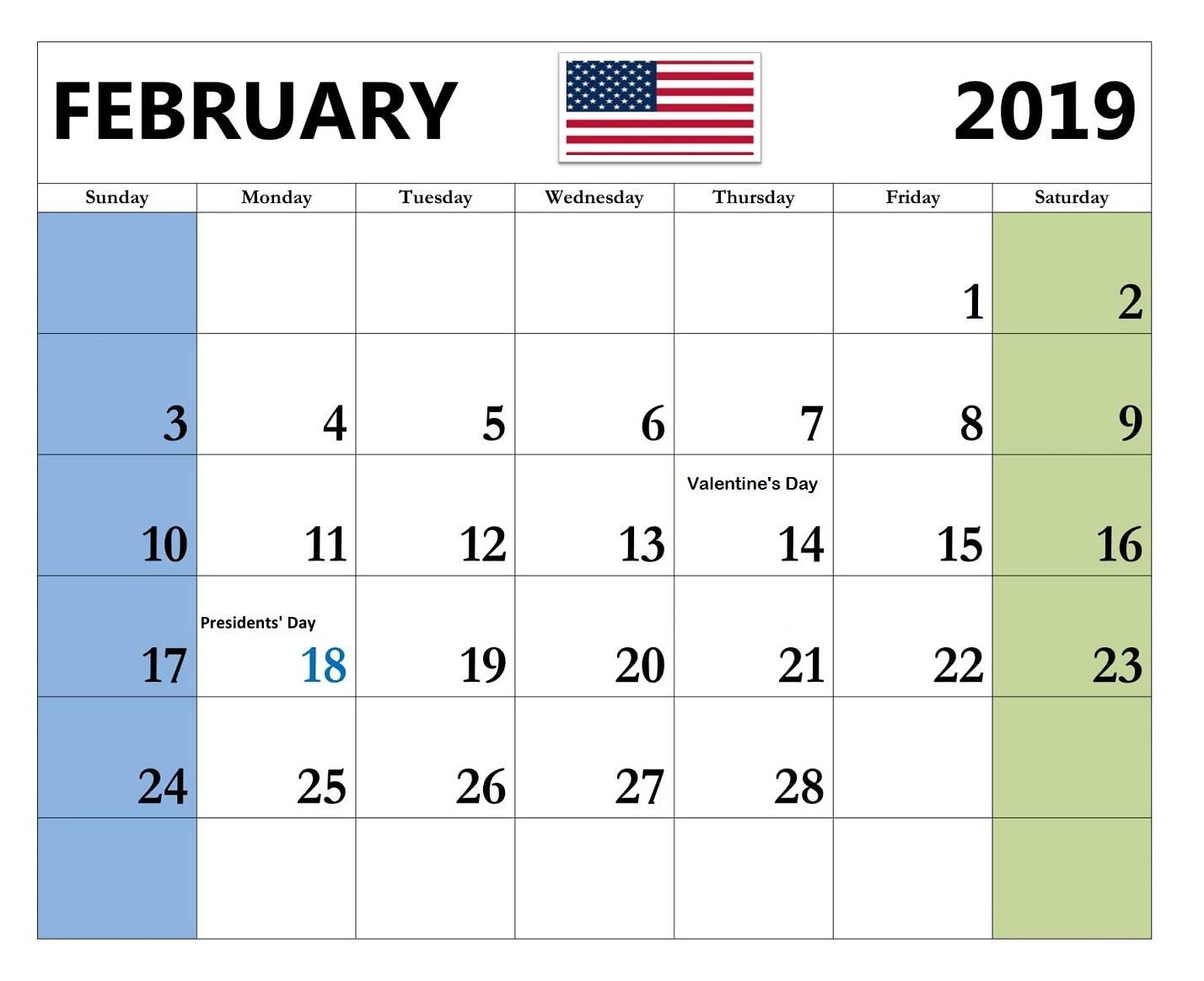 February 2019 Editable Calendar Template Free