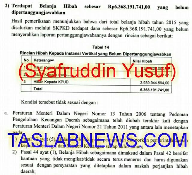Hasil audit BPK atas laporan dana hibah Pemko Siantar ke KPUD.