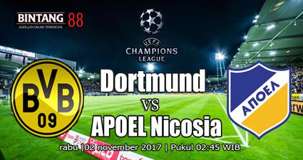 pertandingan Borussia Dortmund vs Nicosia jitu, akurat, dan tepat. Pertandingan ini akan   dilangsungkan pukul 02.45 WIB pada 02 November 2017