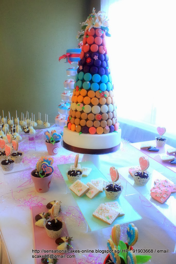 Rainbow Theme Wedding Cake Dessert Table Singapore Filled With Pops Cookies Macarons Tower Tier Hearts Size Cookieany More