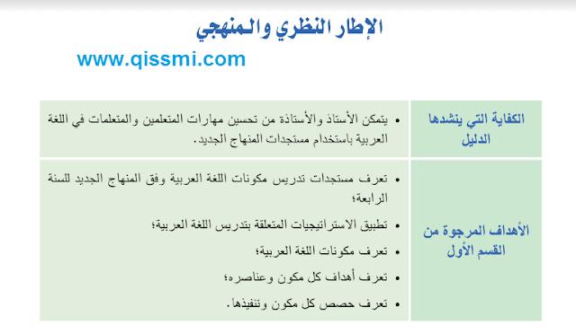 الإطار النظري و المنهجي للغة العربية للمستوى الرابع