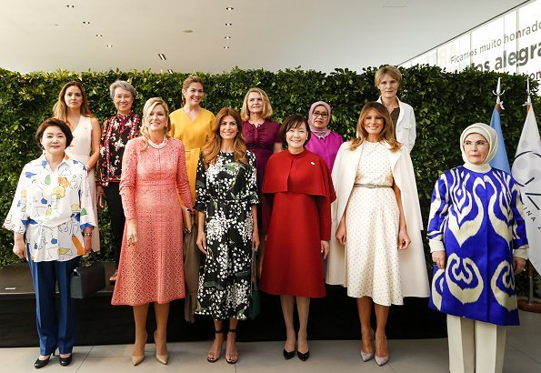 Queen Maxima wore Elie Saab Guipure Lace Dress. Argentina's First Lady Juliana Awada and US First Lady Melania Trump