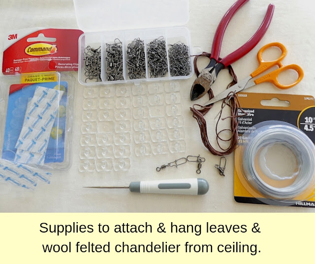 Supplies to hang felt chandelier.