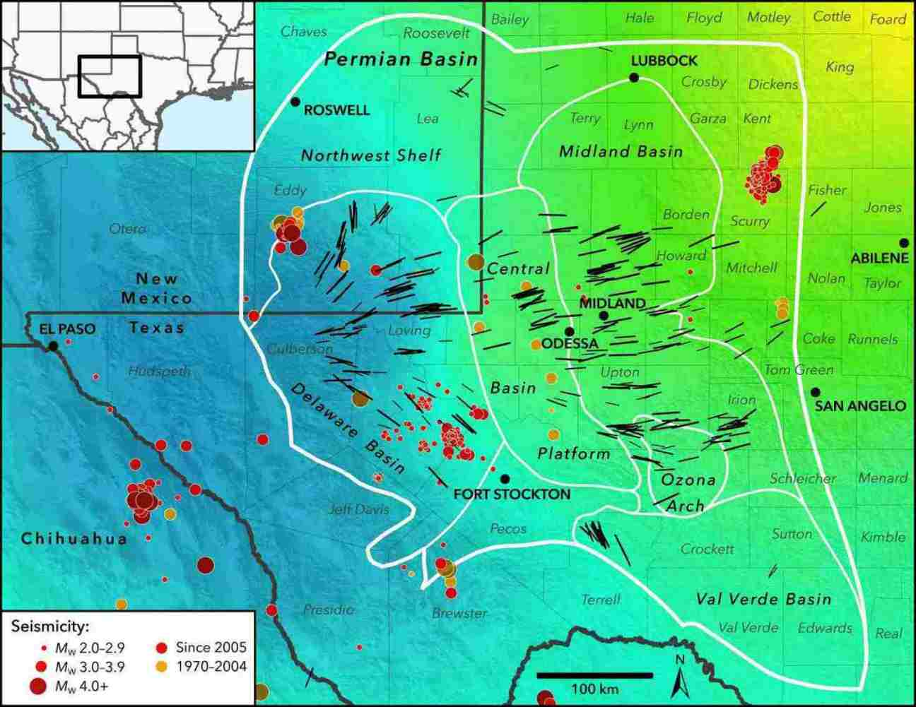 seismic stress map profiles induced earthquake risk for west texas new mexico