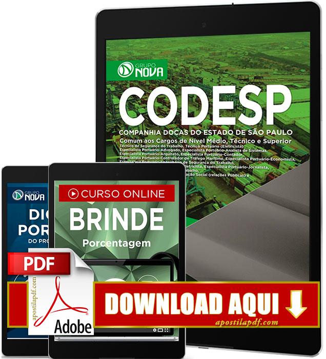 Apostila CODESP 2017 PDF Download Comum a Todos os Cargos
